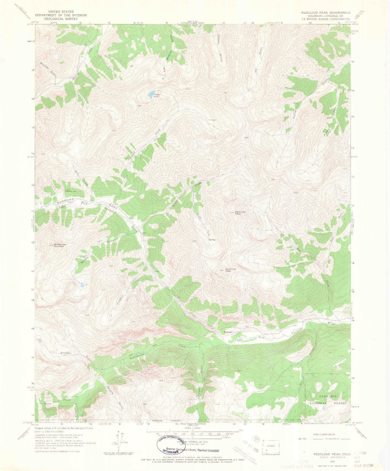 USGS 1:24000-SCALE QUADRANGLE FOR REDCLOUD PEAK, CO 1964
