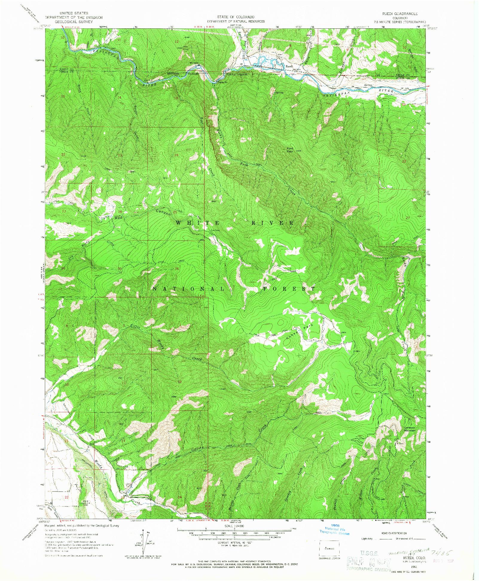 USGS 1:24000-SCALE QUADRANGLE FOR RUEDI, CO 1961
