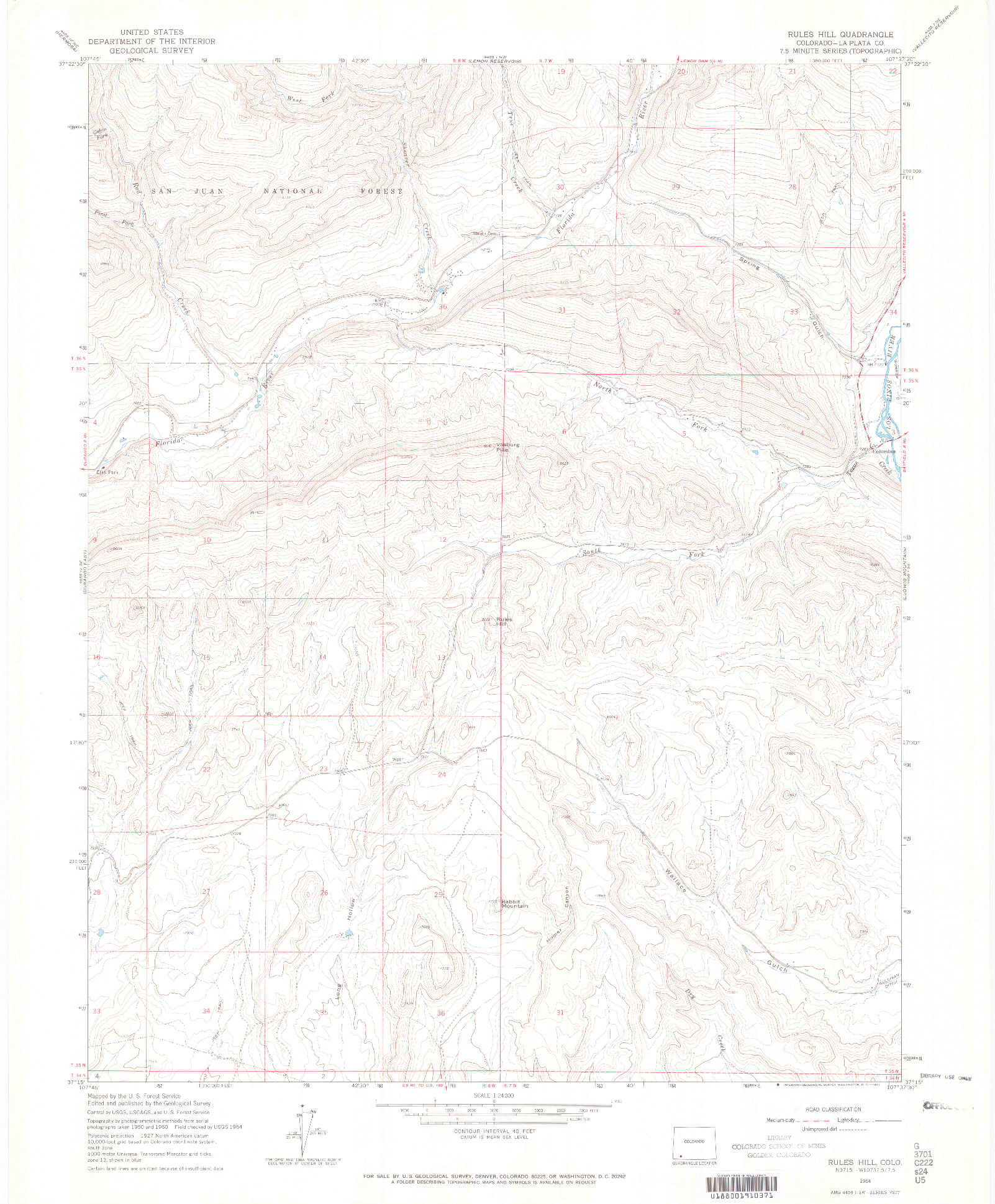 USGS 1:24000-SCALE QUADRANGLE FOR RULES HILL, CO 1964