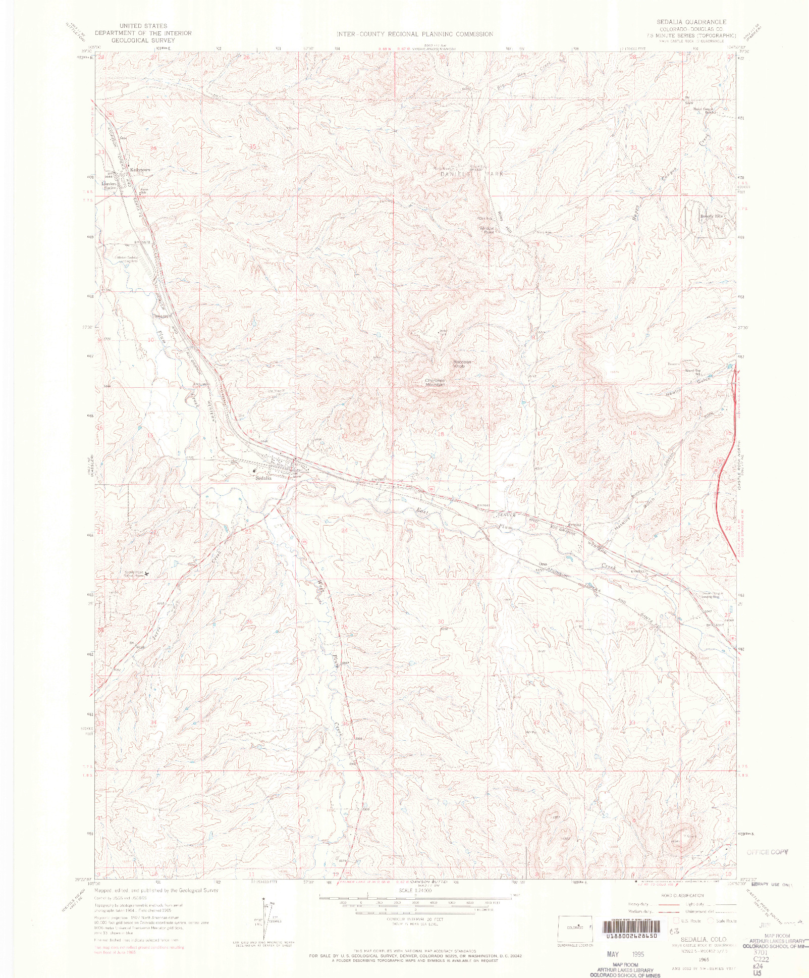 USGS 1:24000-SCALE QUADRANGLE FOR SEDALIA, CO 1965