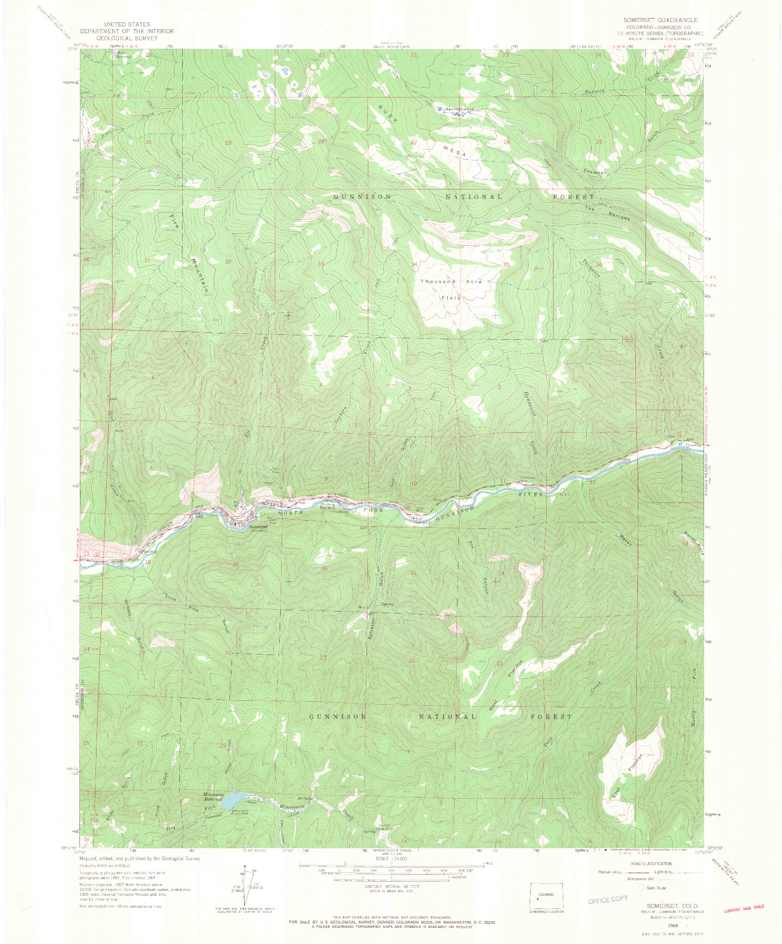 USGS 1:24000-SCALE QUADRANGLE FOR SOMERSET, CO 1964