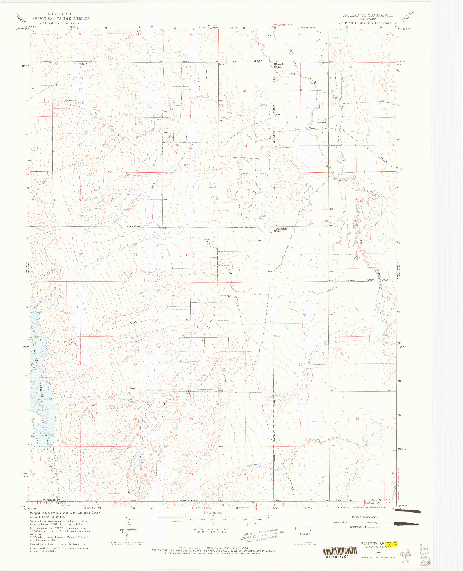 USGS 1:24000-SCALE QUADRANGLE FOR VALLERY SE, CO 1965