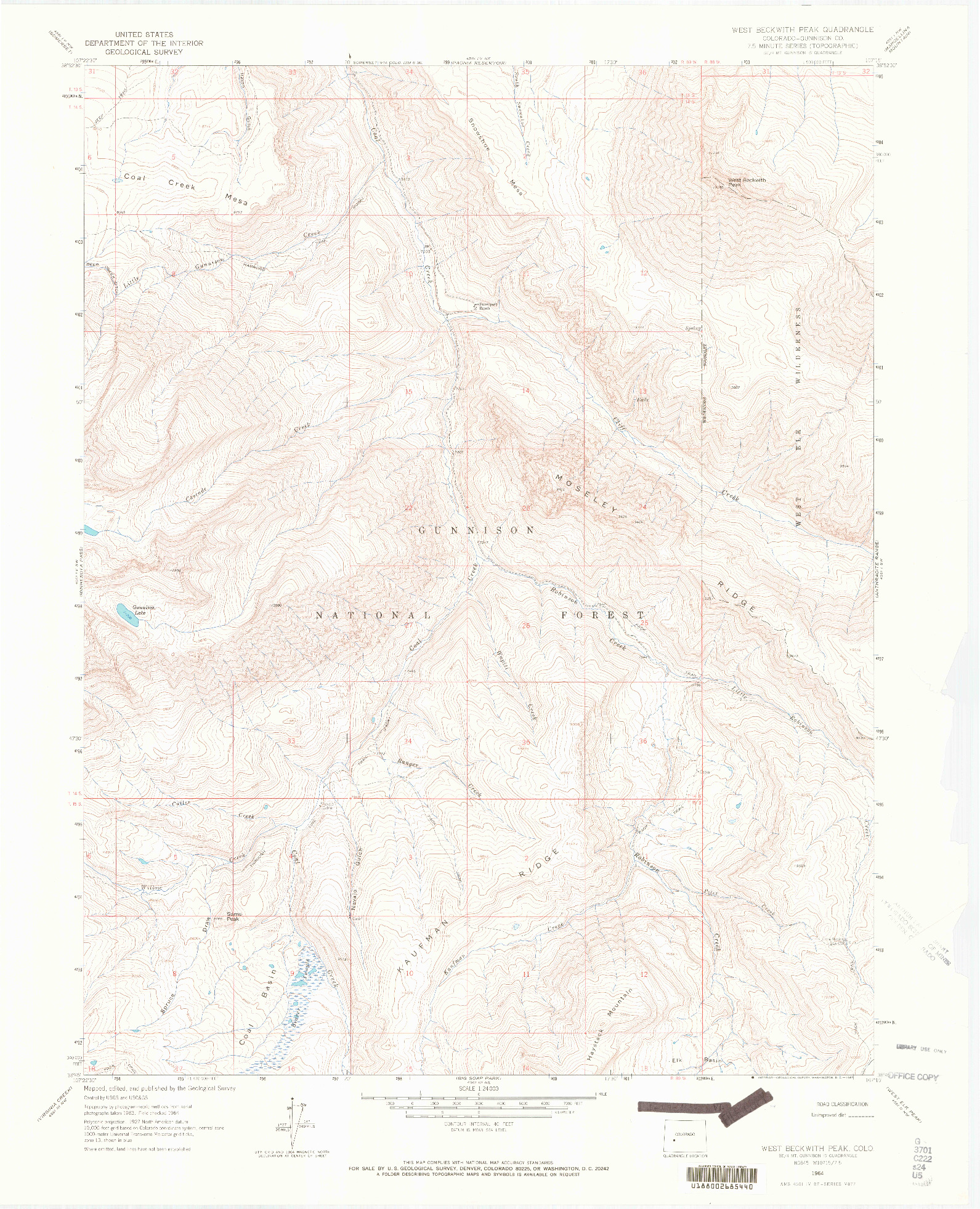 USGS 1:24000-SCALE QUADRANGLE FOR WEST BECKWITH PEAK, CO 1964