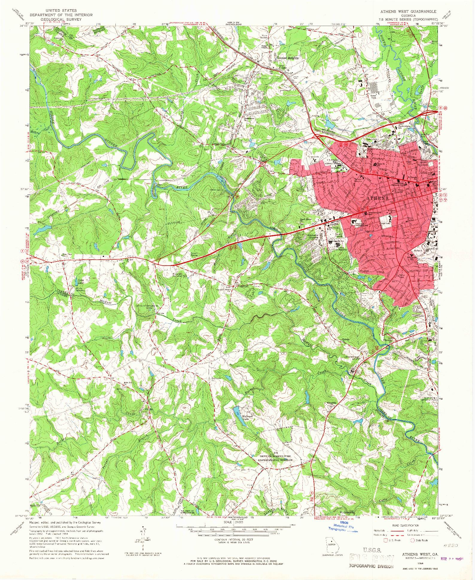 USGS 1:24000-SCALE QUADRANGLE FOR ATHENS WEST, GA 1964