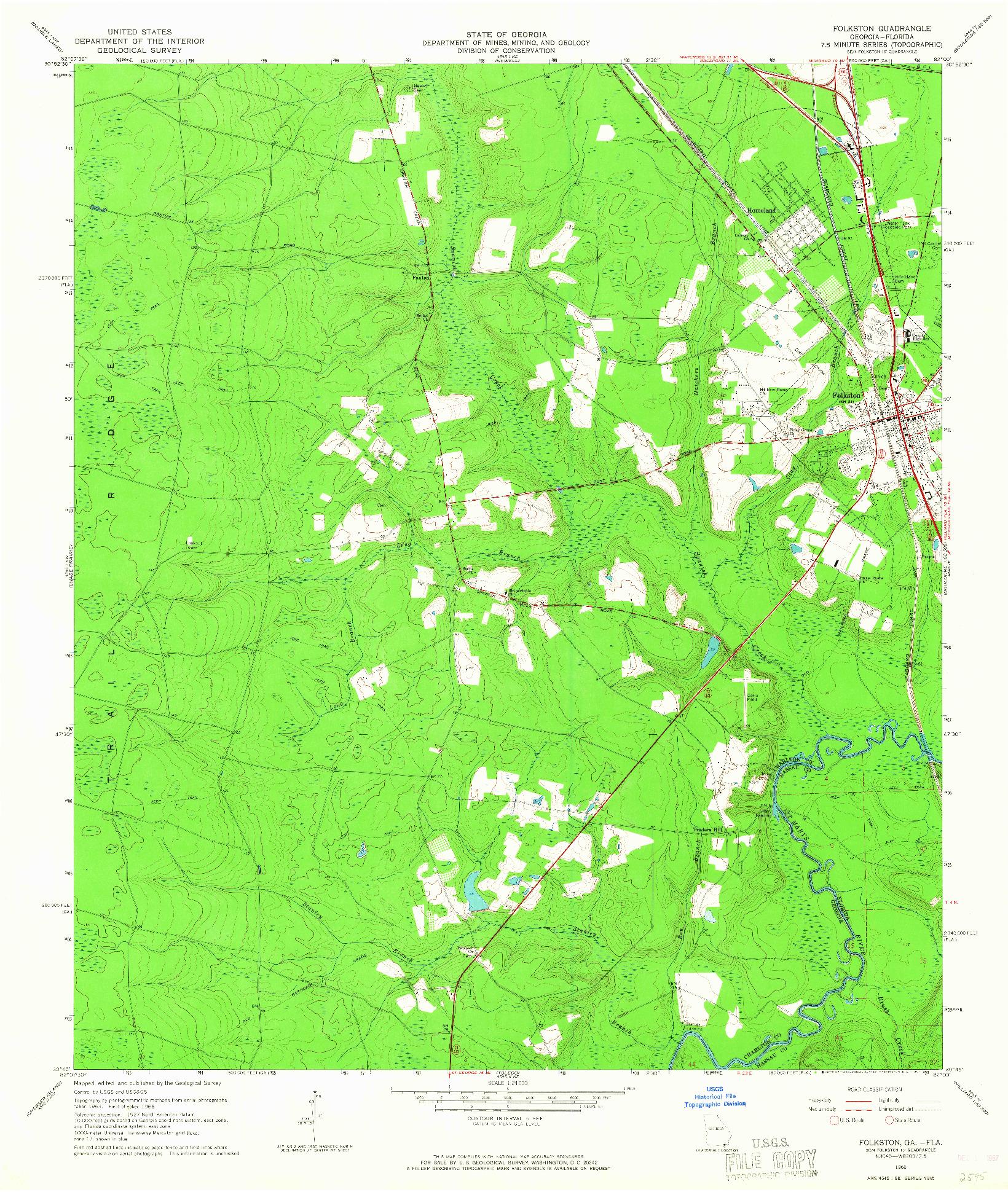 USGS 1:24000-SCALE QUADRANGLE FOR FOLKSTON, GA 1966