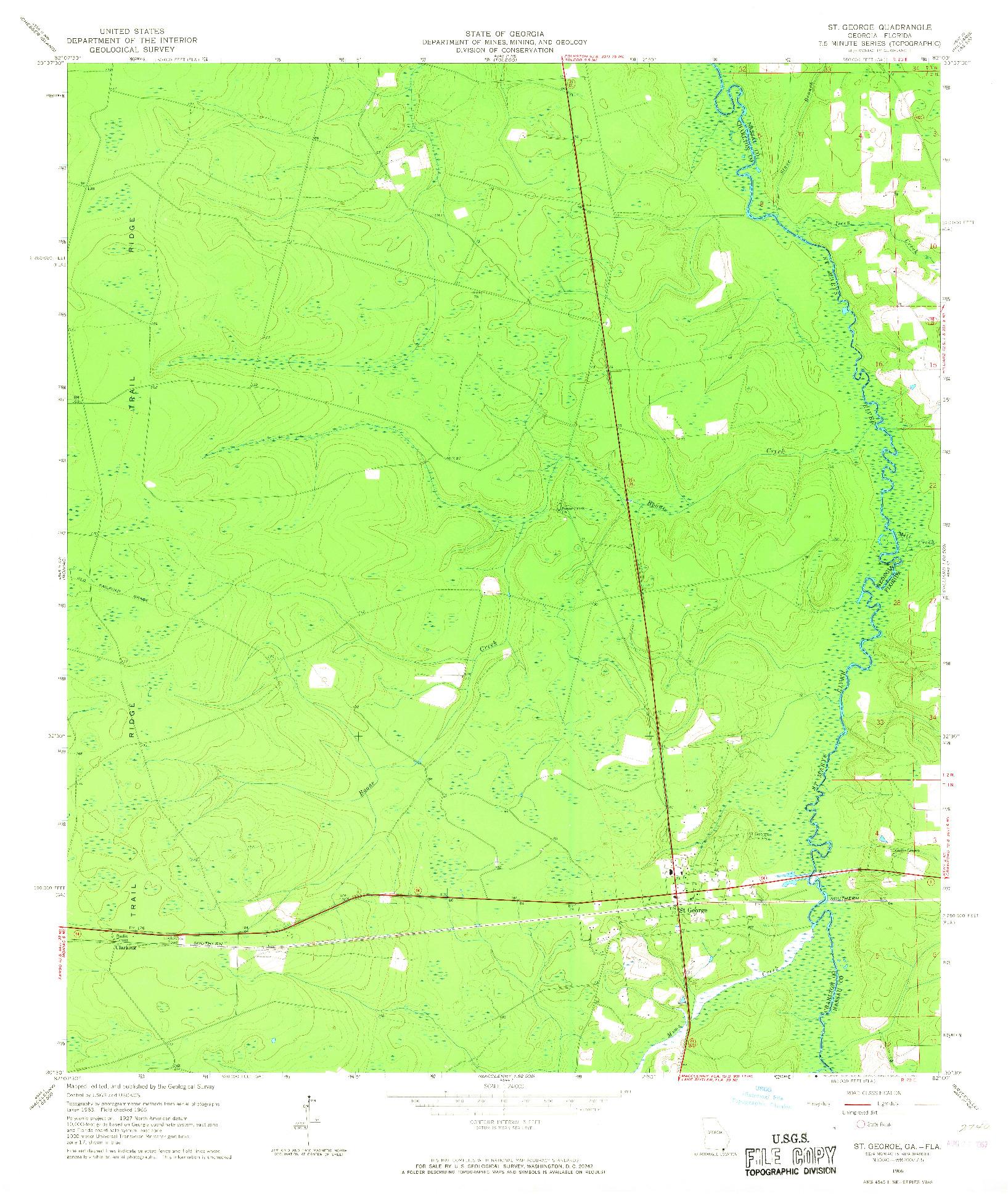 USGS 1:24000-SCALE QUADRANGLE FOR ST GEORGE, GA 1966
