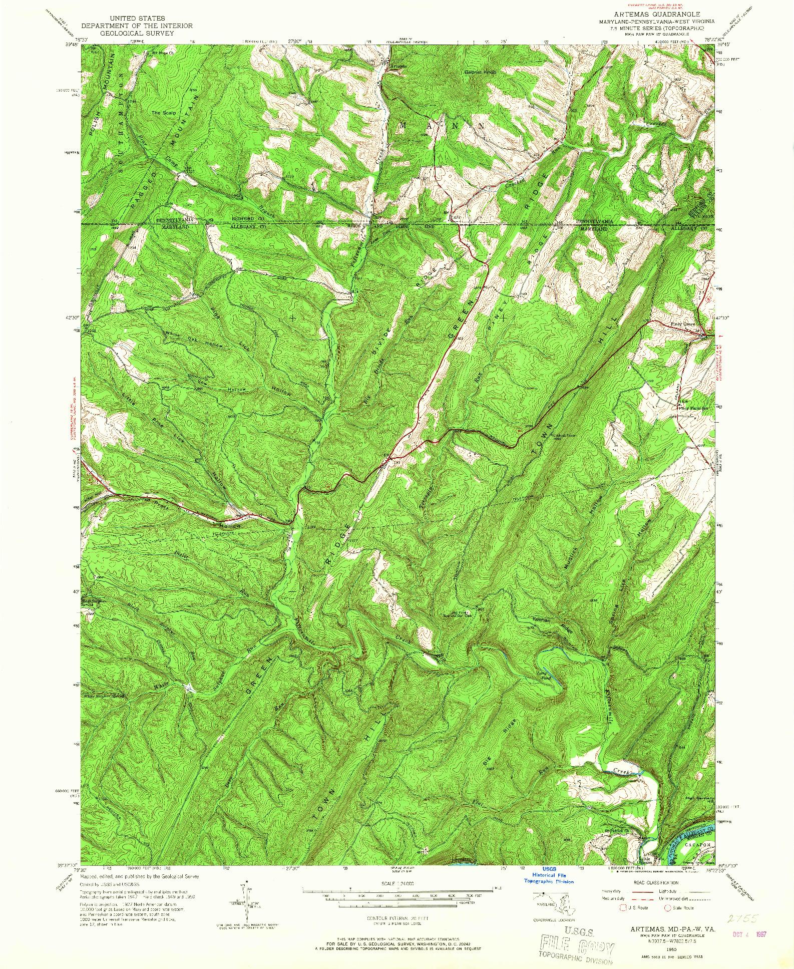 USGS 1:24000-SCALE QUADRANGLE FOR ARTEMAS, MD 1950