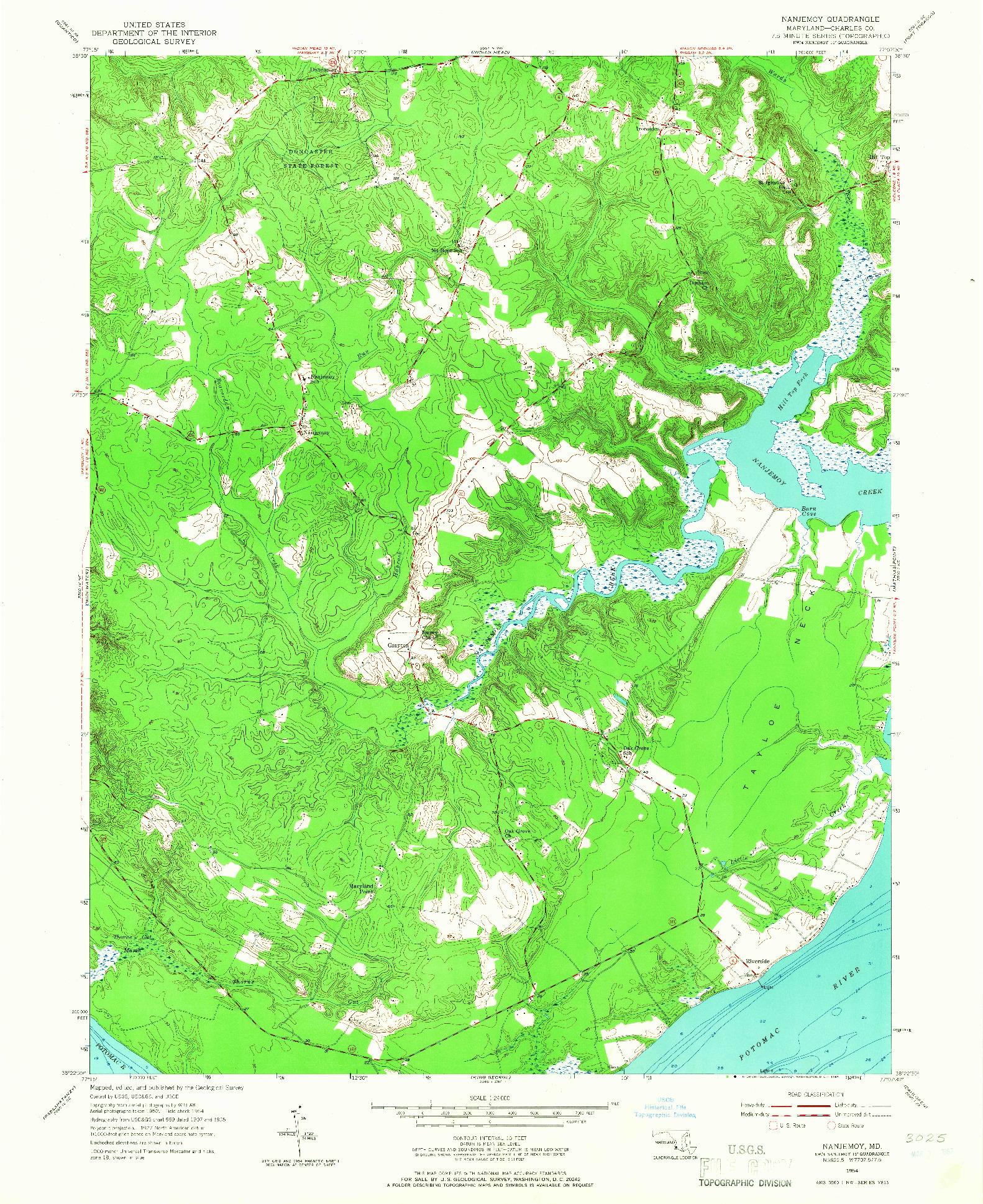 USGS 1:24000-SCALE QUADRANGLE FOR NANJEMOY, MD 1954