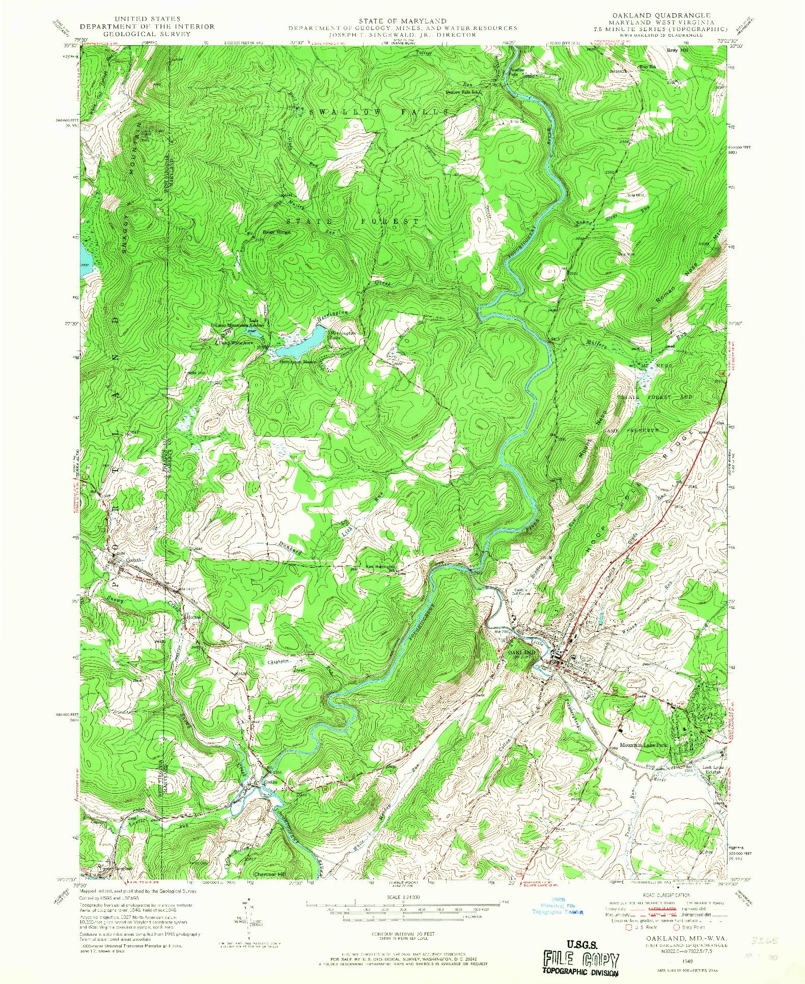 USGS 1:24000-SCALE QUADRANGLE FOR OAKLAND, MD 1948