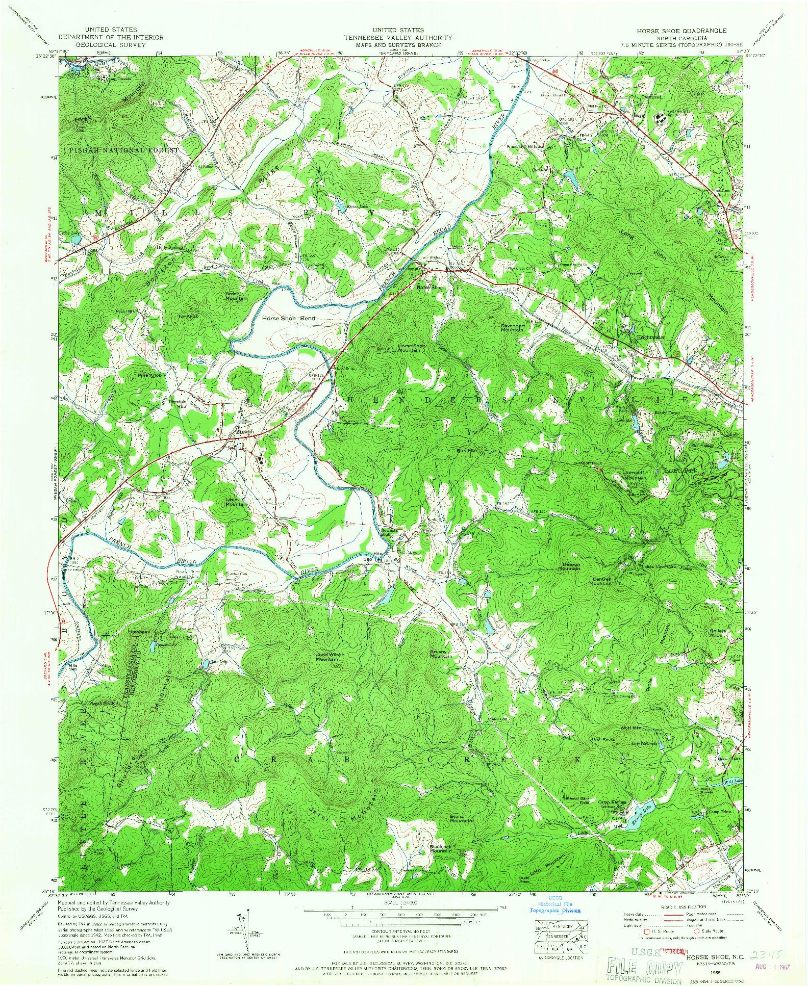 USGS 1:24000-SCALE QUADRANGLE FOR HORSE SHOE, NC 1965
