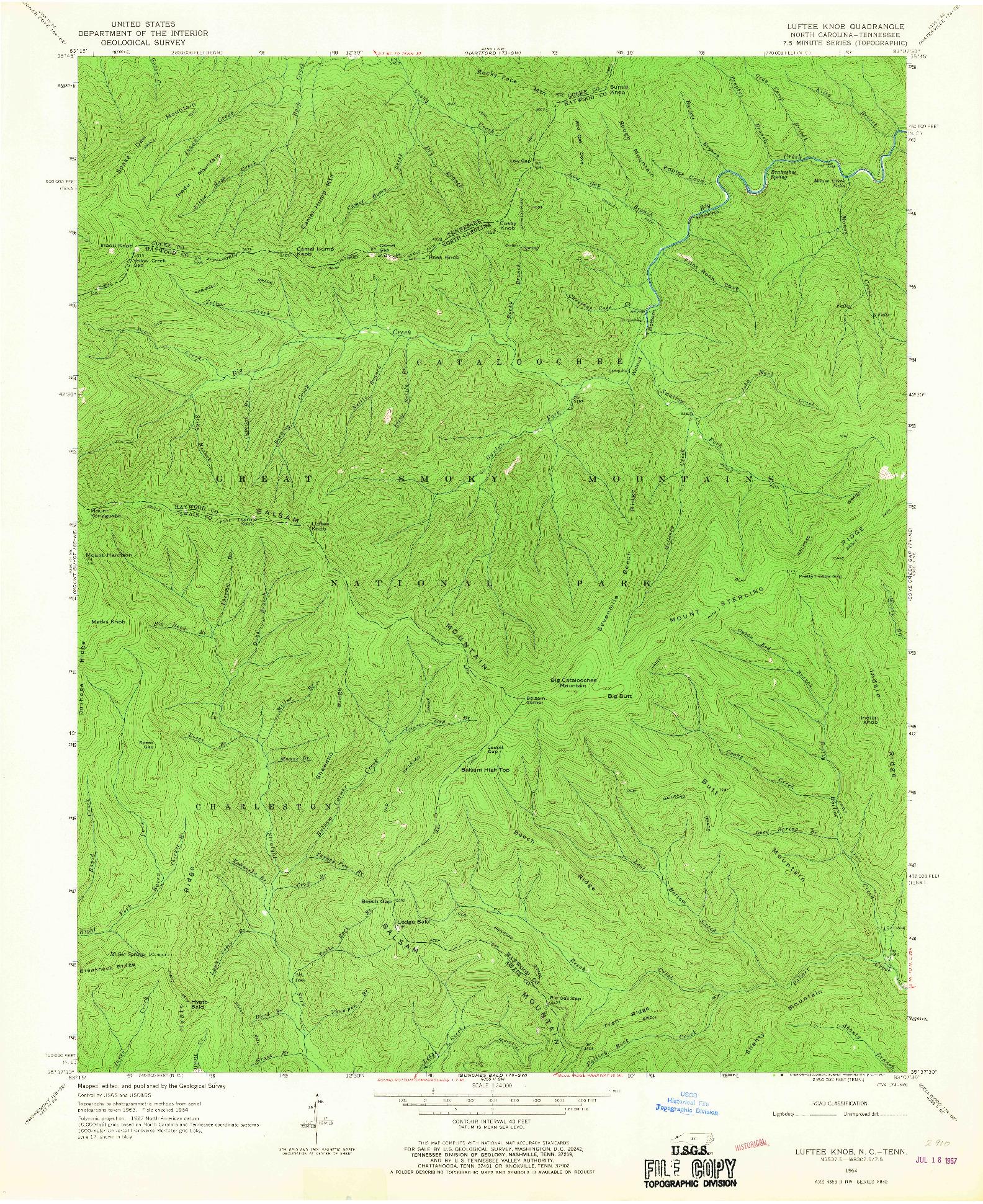 USGS 1:24000-SCALE QUADRANGLE FOR LUFTEE KNOB, NC 1964