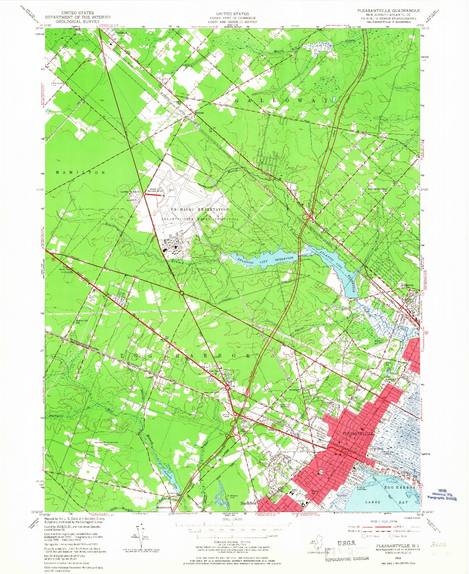 USGS 1:24000-SCALE QUADRANGLE FOR PLEASANTVILLE, NJ 1952