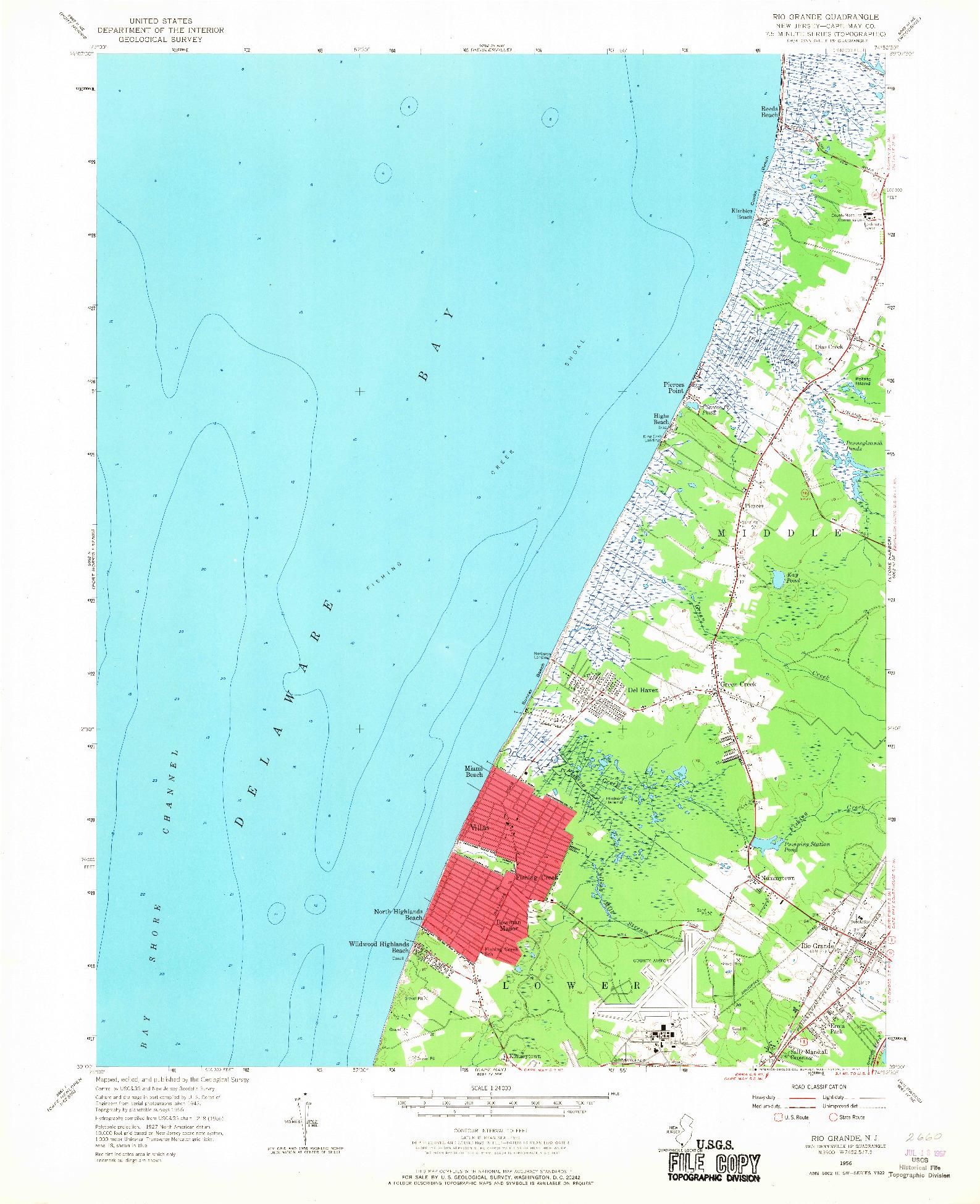 USGS 1:24000-SCALE QUADRANGLE FOR RIO GRANDE, NJ 1956