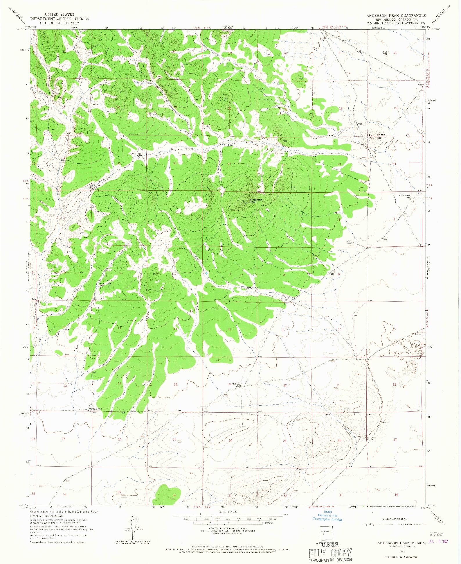 USGS 1:24000-SCALE QUADRANGLE FOR ANDERSON PEAK, NM 1963