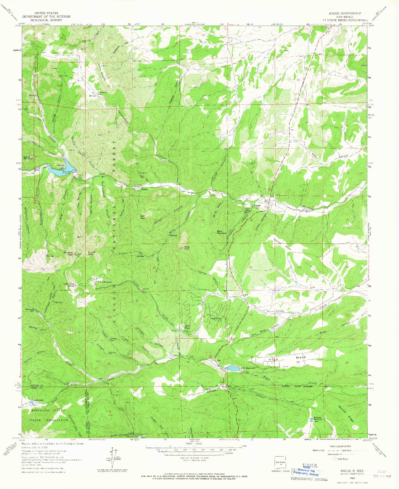 USGS 1:24000-SCALE QUADRANGLE FOR ANGUS, NM 1963