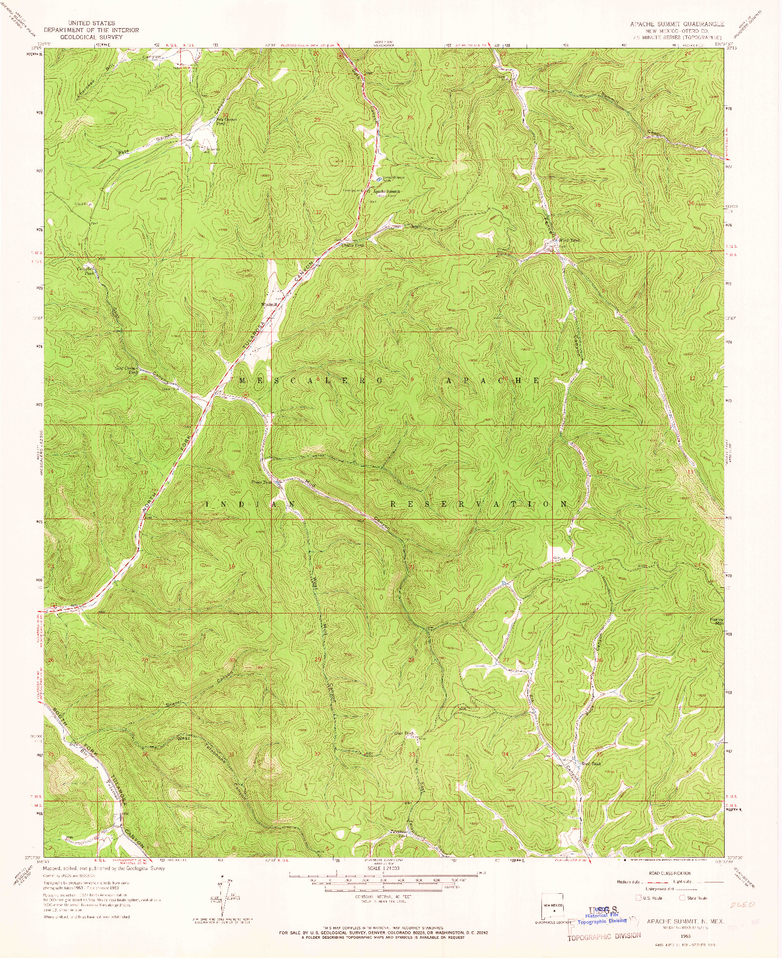 USGS 1:24000-SCALE QUADRANGLE FOR APACHE SUMMIT, NM 1963
