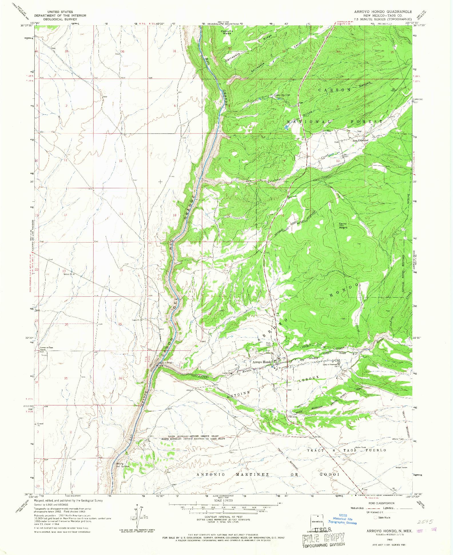 USGS 1:24000-SCALE QUADRANGLE FOR ARROYO HONDO, NM 1963