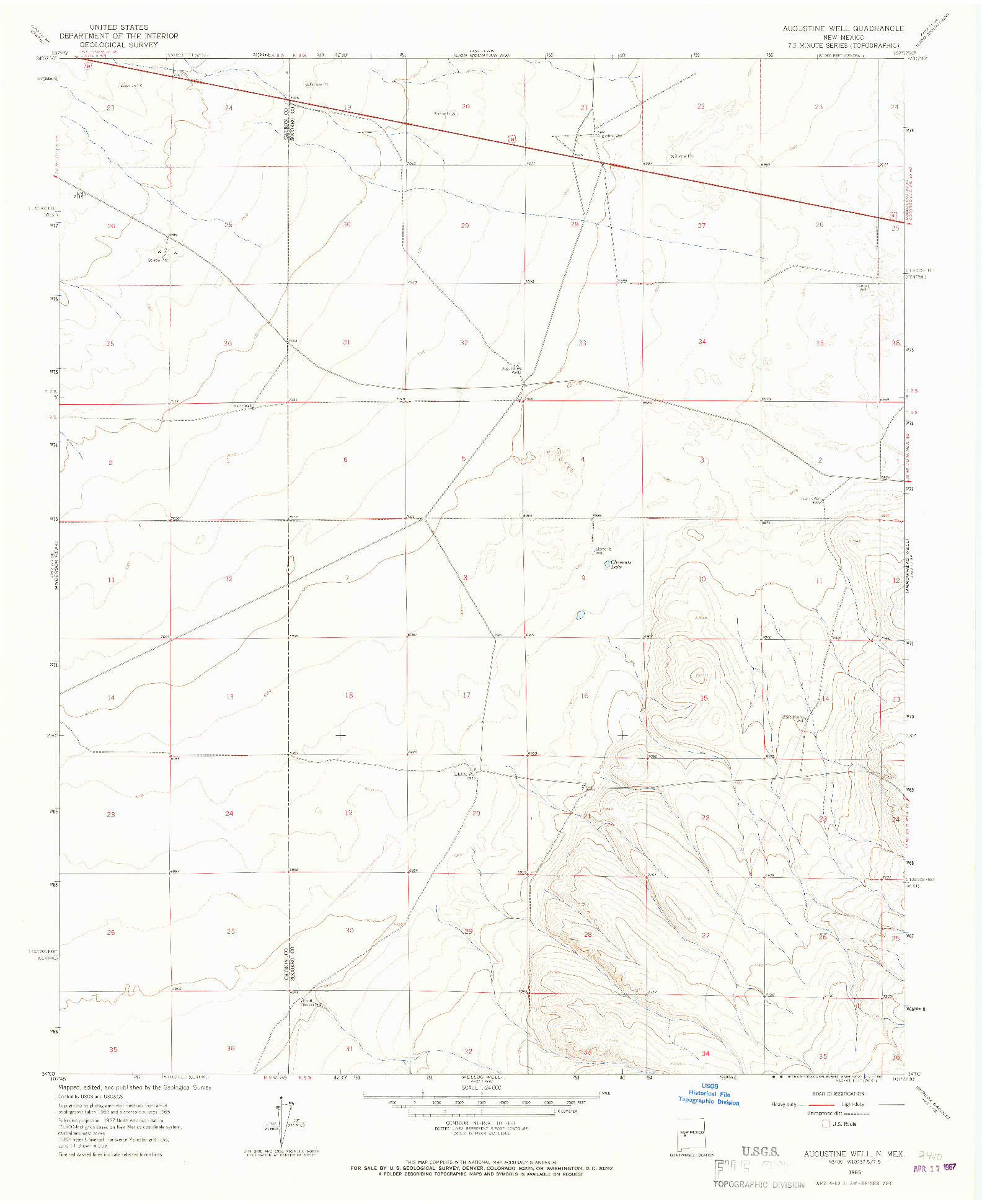 USGS 1:24000-SCALE QUADRANGLE FOR AUGUSTINE WELL, NM 1965