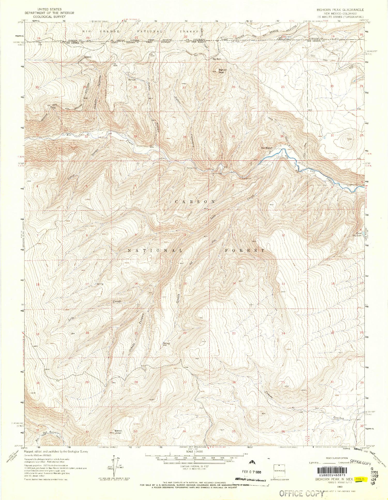 USGS 1:24000-SCALE QUADRANGLE FOR BIGHORN PEAK, NM 1963