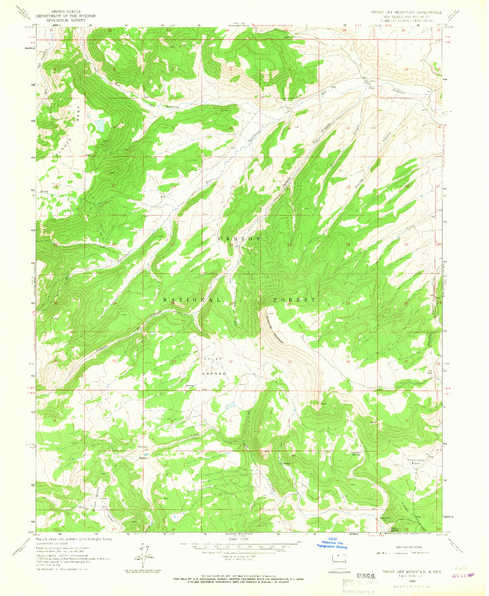USGS 1:24000-SCALE QUADRANGLE FOR BROKE OFF MOUNTAIN, NM 1963