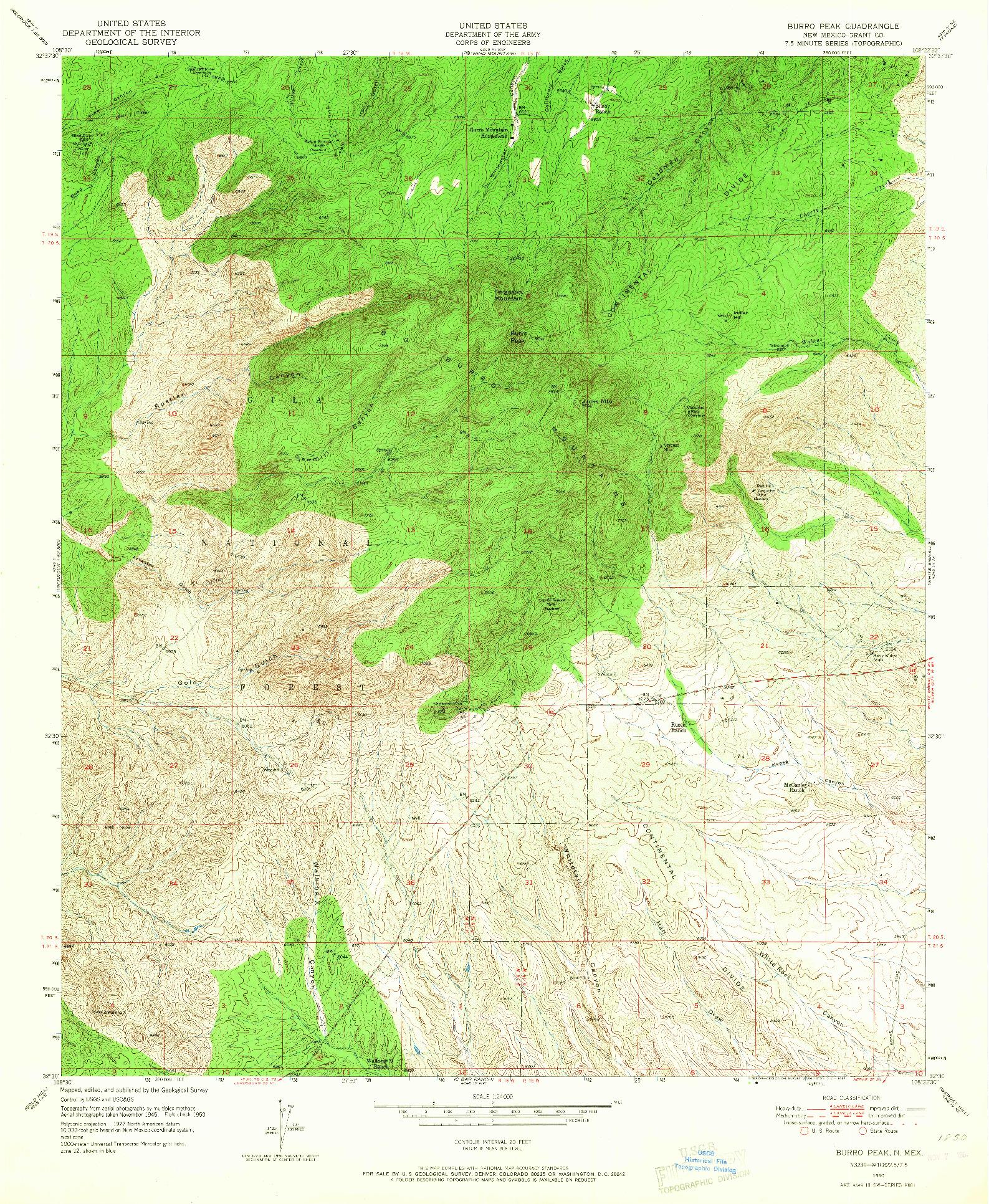 USGS 1:24000-SCALE QUADRANGLE FOR BURRO PEAK, NM 1950