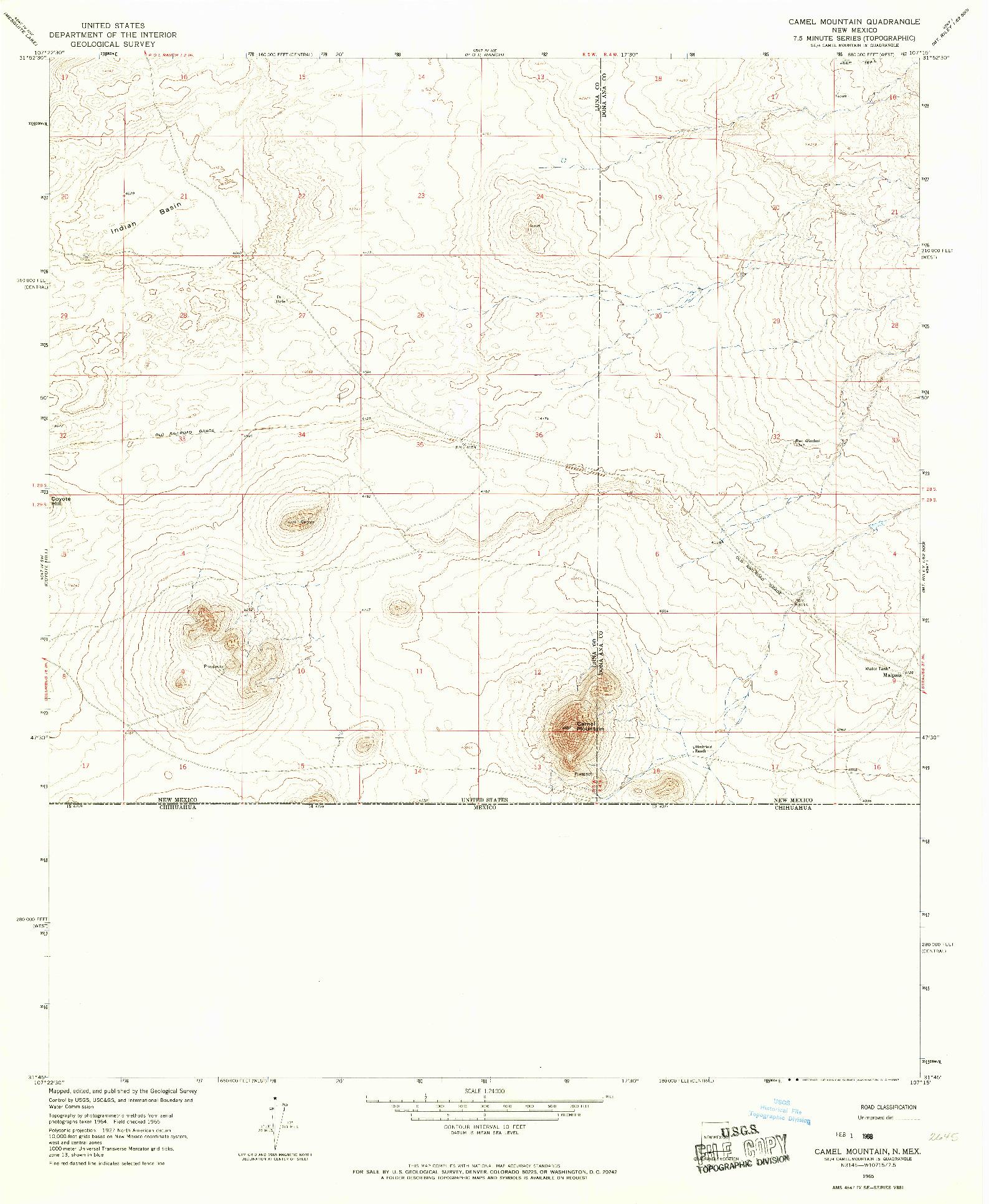 USGS 1:24000-SCALE QUADRANGLE FOR CAMEL MOUNTAIN, NM 1965
