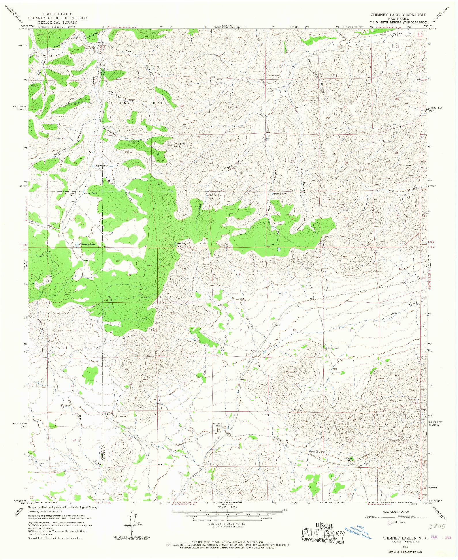 USGS 1:24000-SCALE QUADRANGLE FOR CHIMNEY LAKE, NM 1965