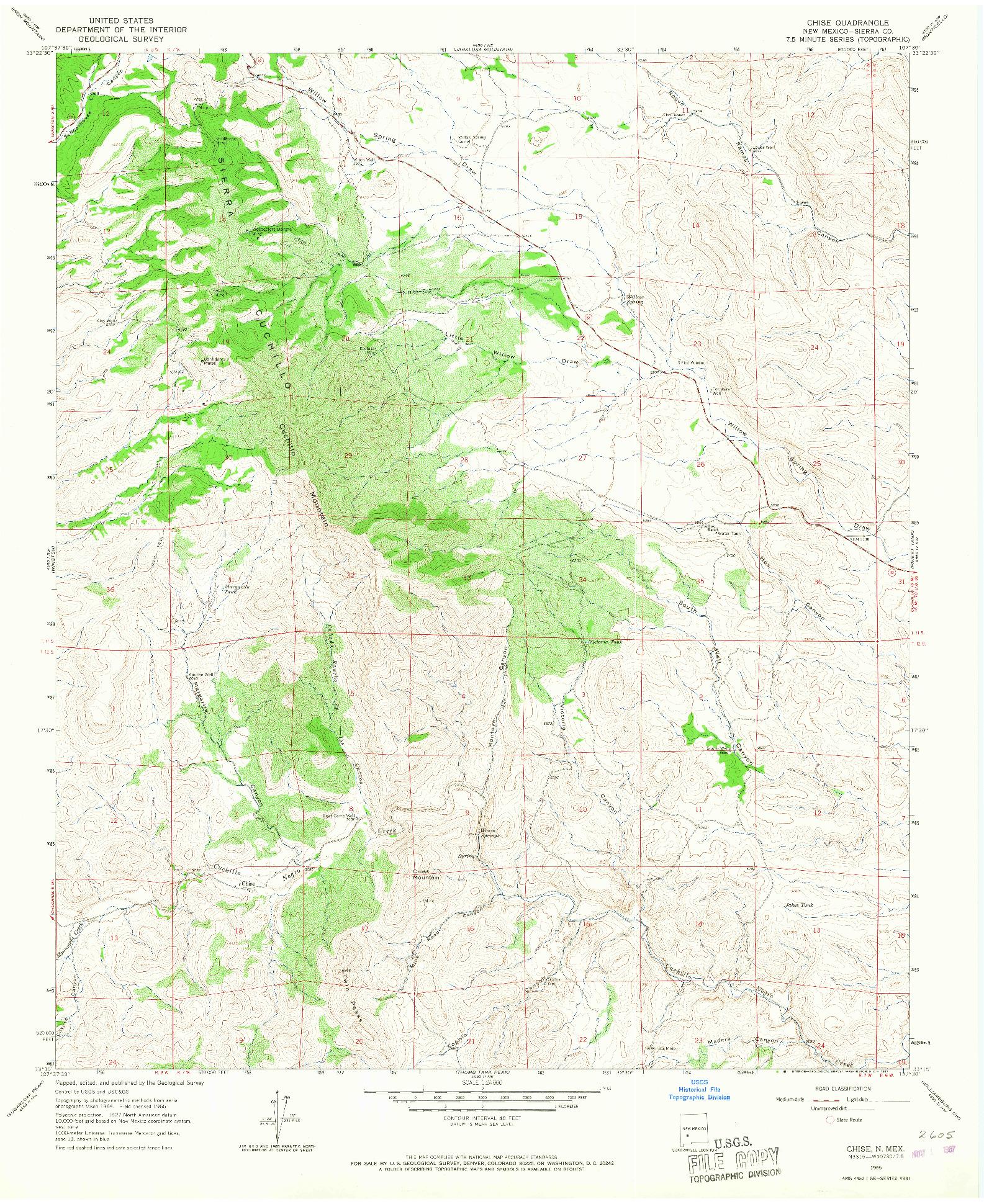 USGS 1:24000-SCALE QUADRANGLE FOR CHISE, NM 1965