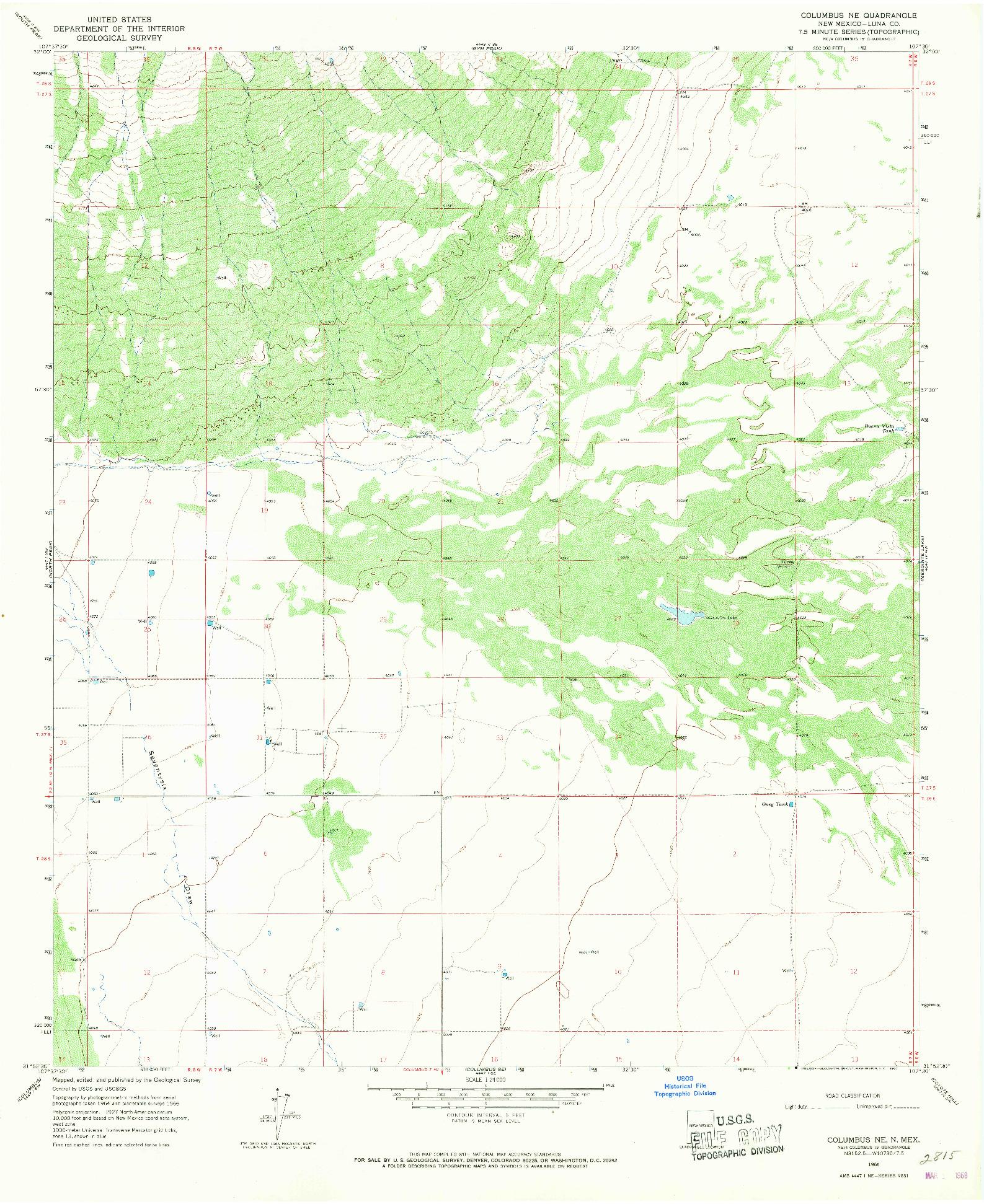 USGS 1:24000-SCALE QUADRANGLE FOR COLUMBUS NE, NM 1966