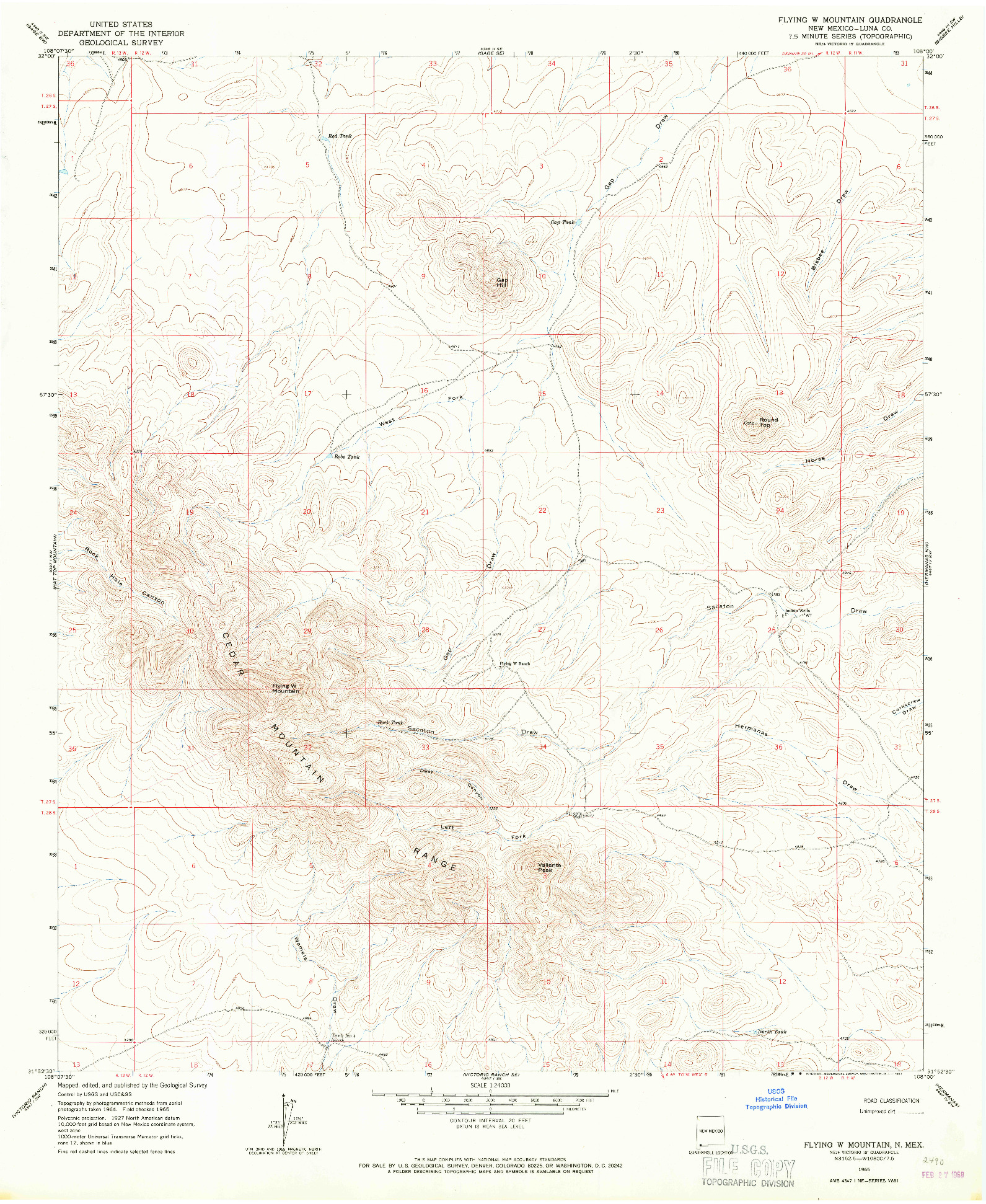 USGS 1:24000-SCALE QUADRANGLE FOR FLYING W MOUNTAIN, NM 1965