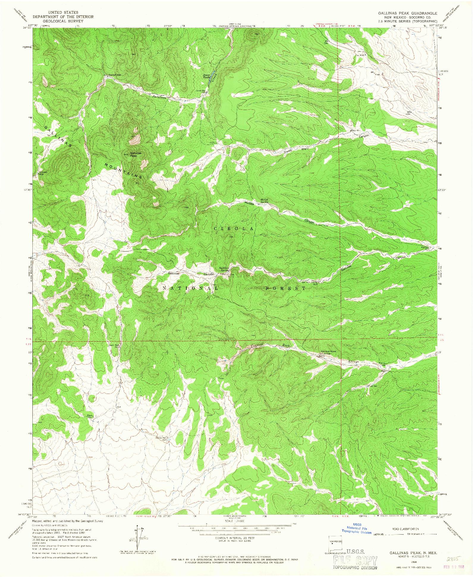 USGS 1:24000-SCALE QUADRANGLE FOR GALLINAS PEAK, NM 1964