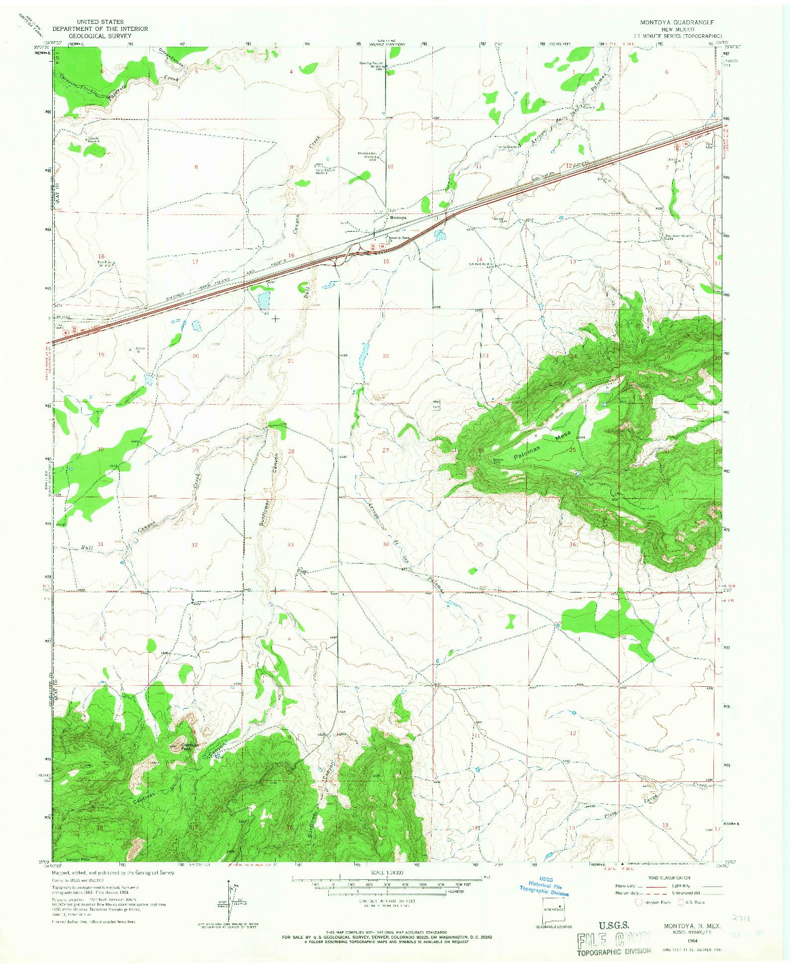 USGS 1:24000-SCALE QUADRANGLE FOR MONTOYA, NM 1964