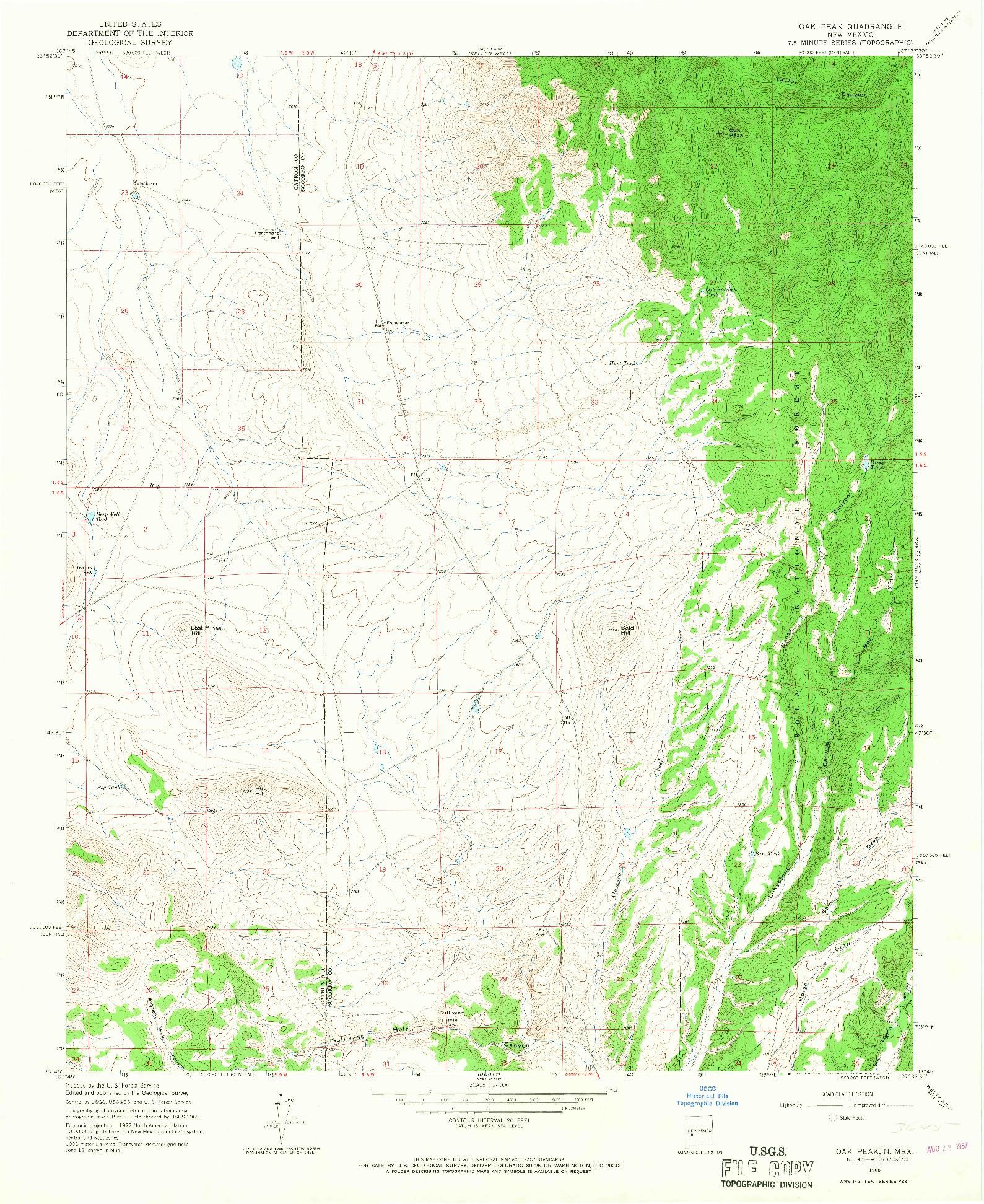 USGS 1:24000-SCALE QUADRANGLE FOR OAK PEAK, NM 1965