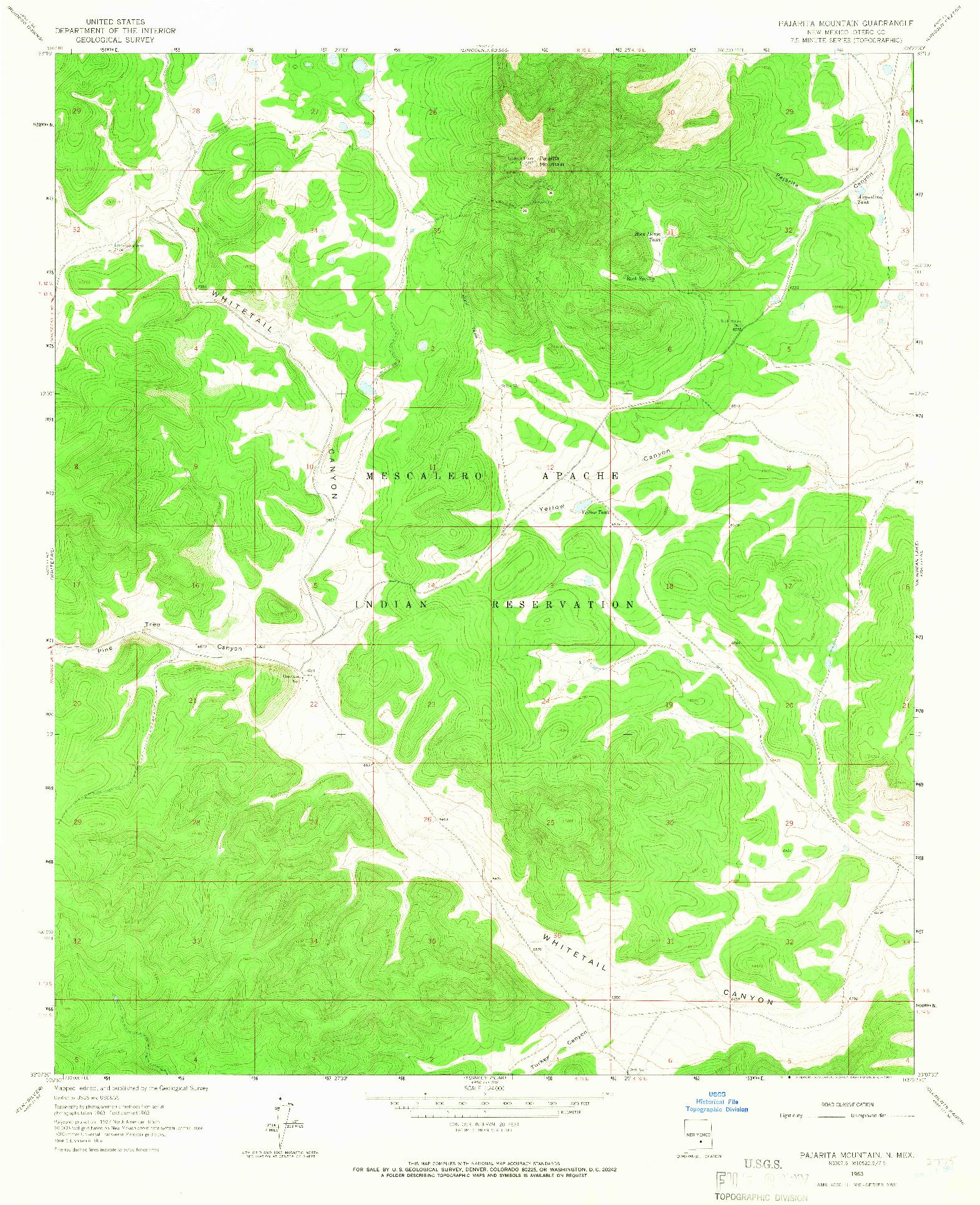 USGS 1:24000-SCALE QUADRANGLE FOR PAJARITA MOUNTAIN, NM 1963