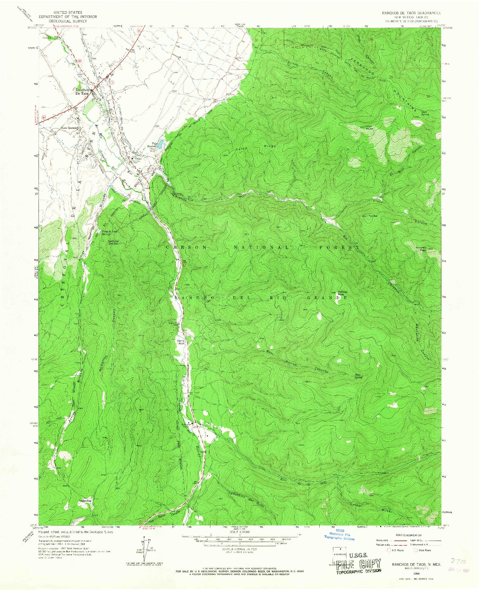 USGS 1:24000-SCALE QUADRANGLE FOR RANCHOS DE TAOS, NM 1964