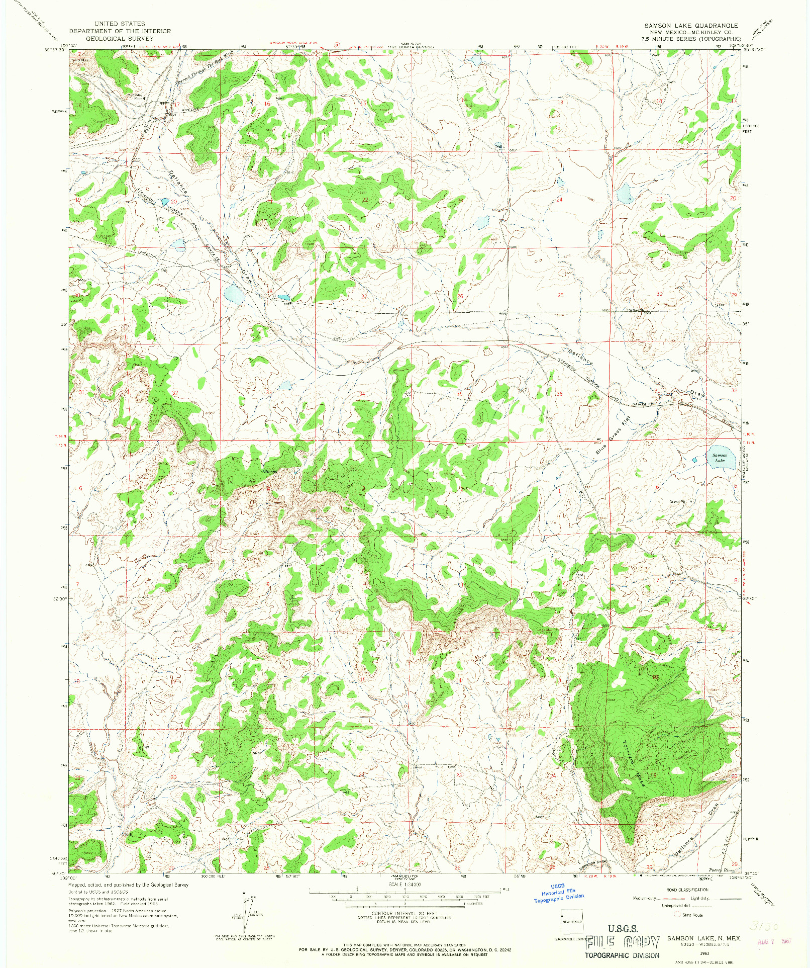 USGS 1:24000-SCALE QUADRANGLE FOR SAMSON LAKE, NM 1963