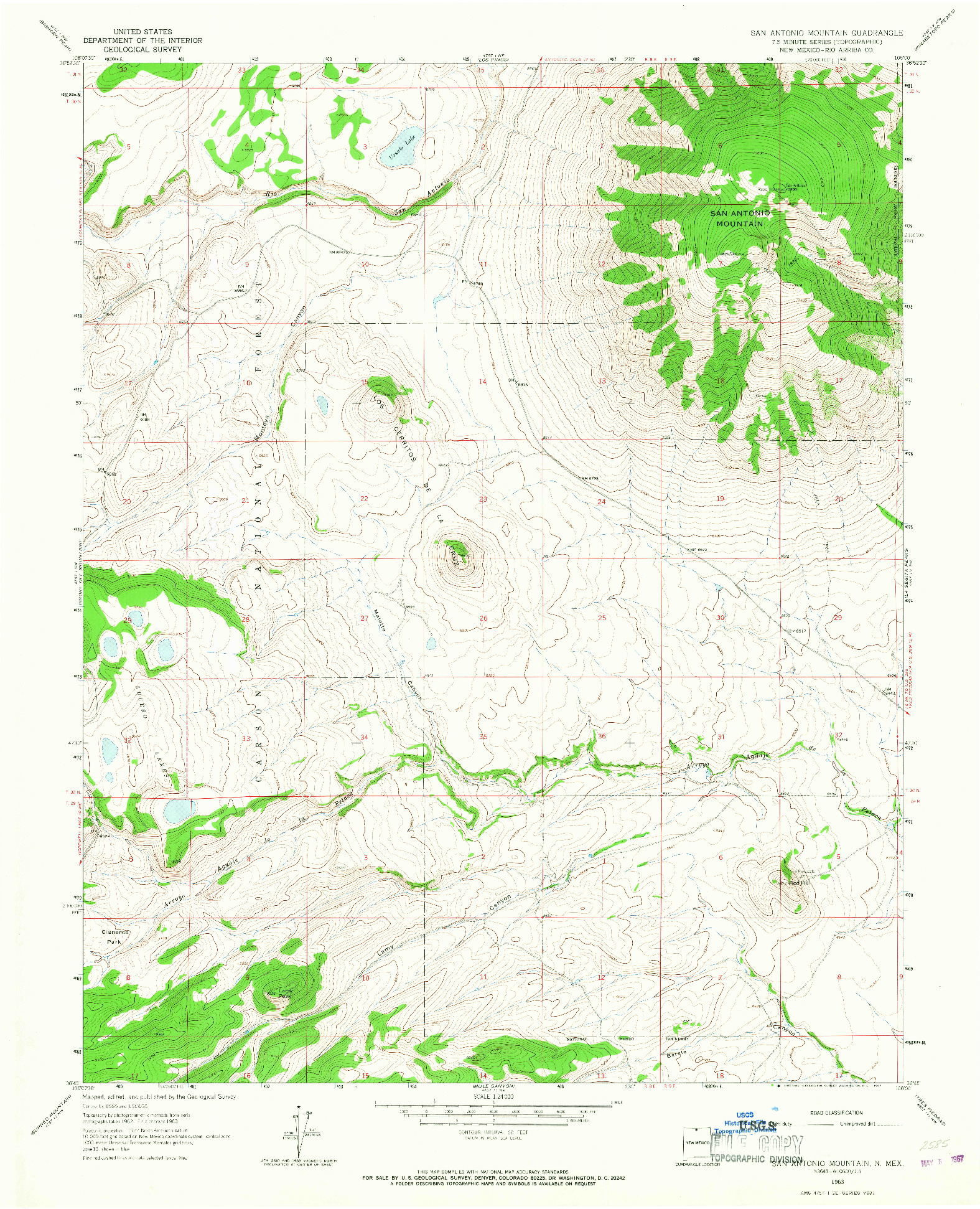 USGS 1:24000-SCALE QUADRANGLE FOR SAN ANTONIO MOUNTAIN, NM 1963