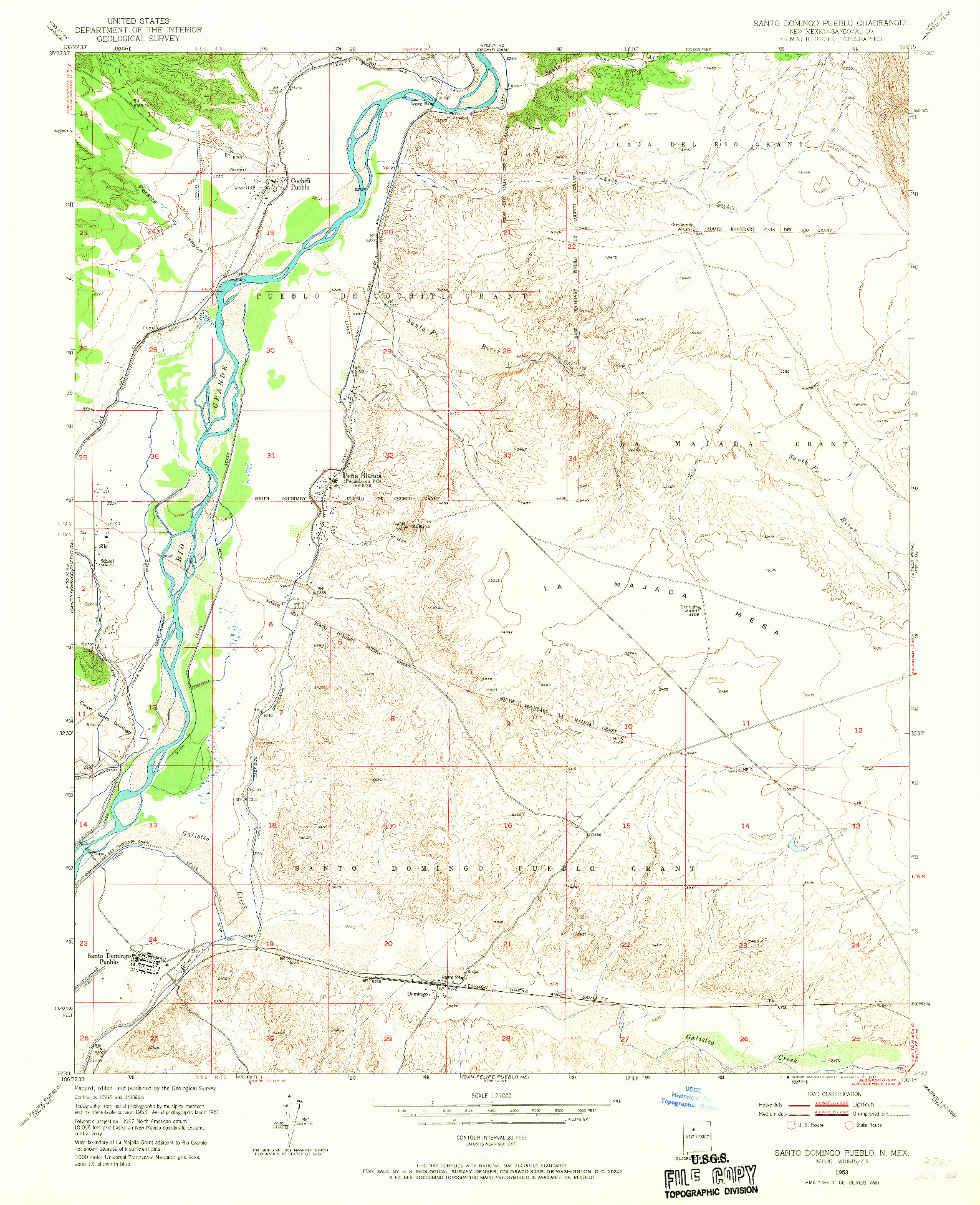 USGS 1:24000-SCALE QUADRANGLE FOR SANTO DOMINGO PUEBLO, NM 1953