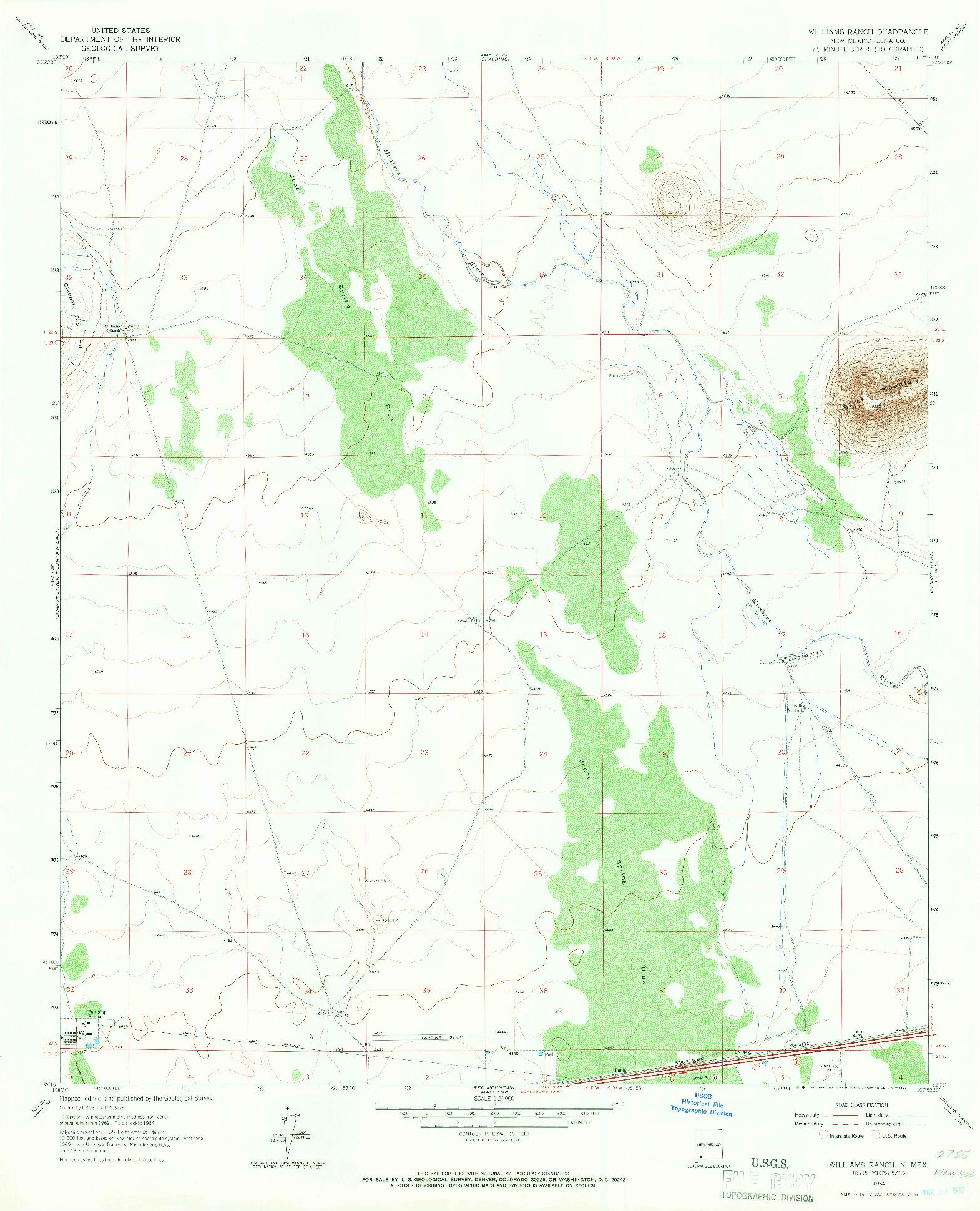 USGS 1:24000-SCALE QUADRANGLE FOR WILLIAMS RANCH, NM 1964