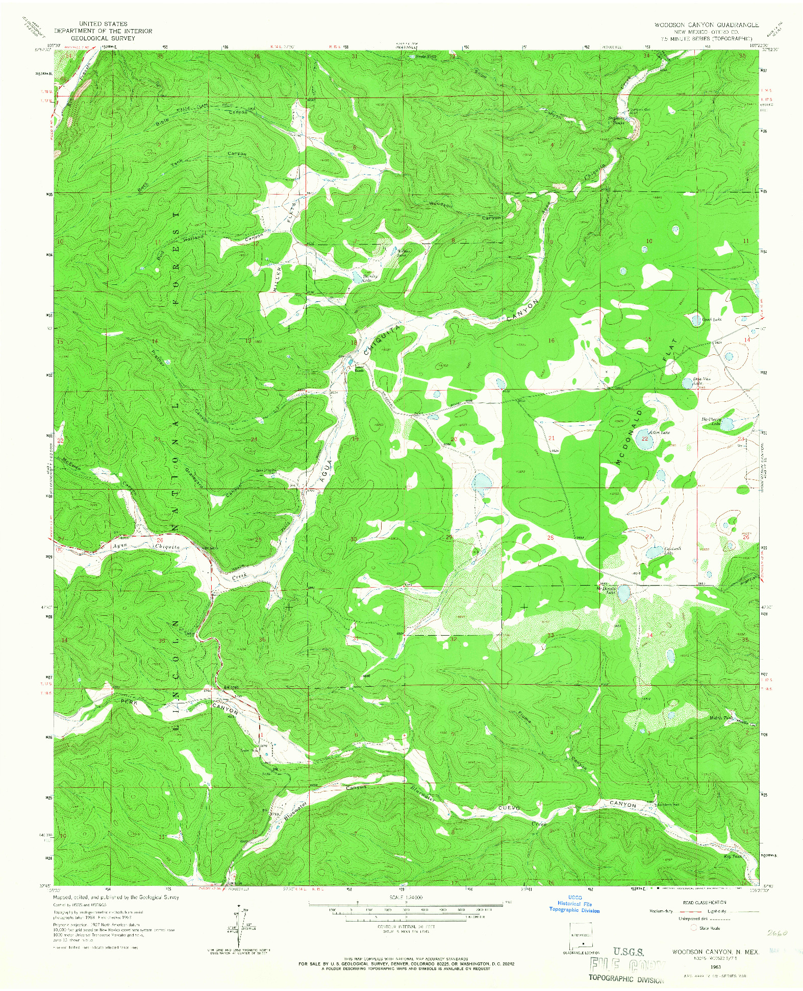 USGS 1:24000-SCALE QUADRANGLE FOR WOODSON CANYON, NM 1963