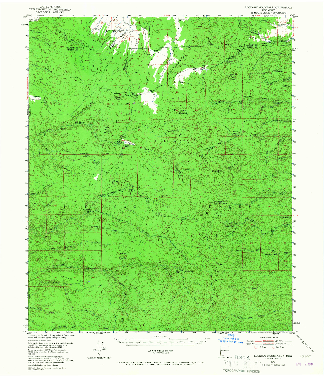 USGS 1:62500-SCALE QUADRANGLE FOR LOOKOUT MOUNTAIN, NM 1949