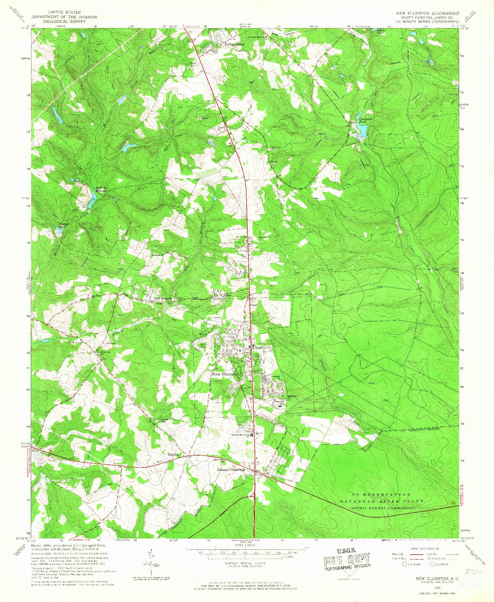 USGS 1:24000-SCALE QUADRANGLE FOR NEW ELLENTON, SC 1965
