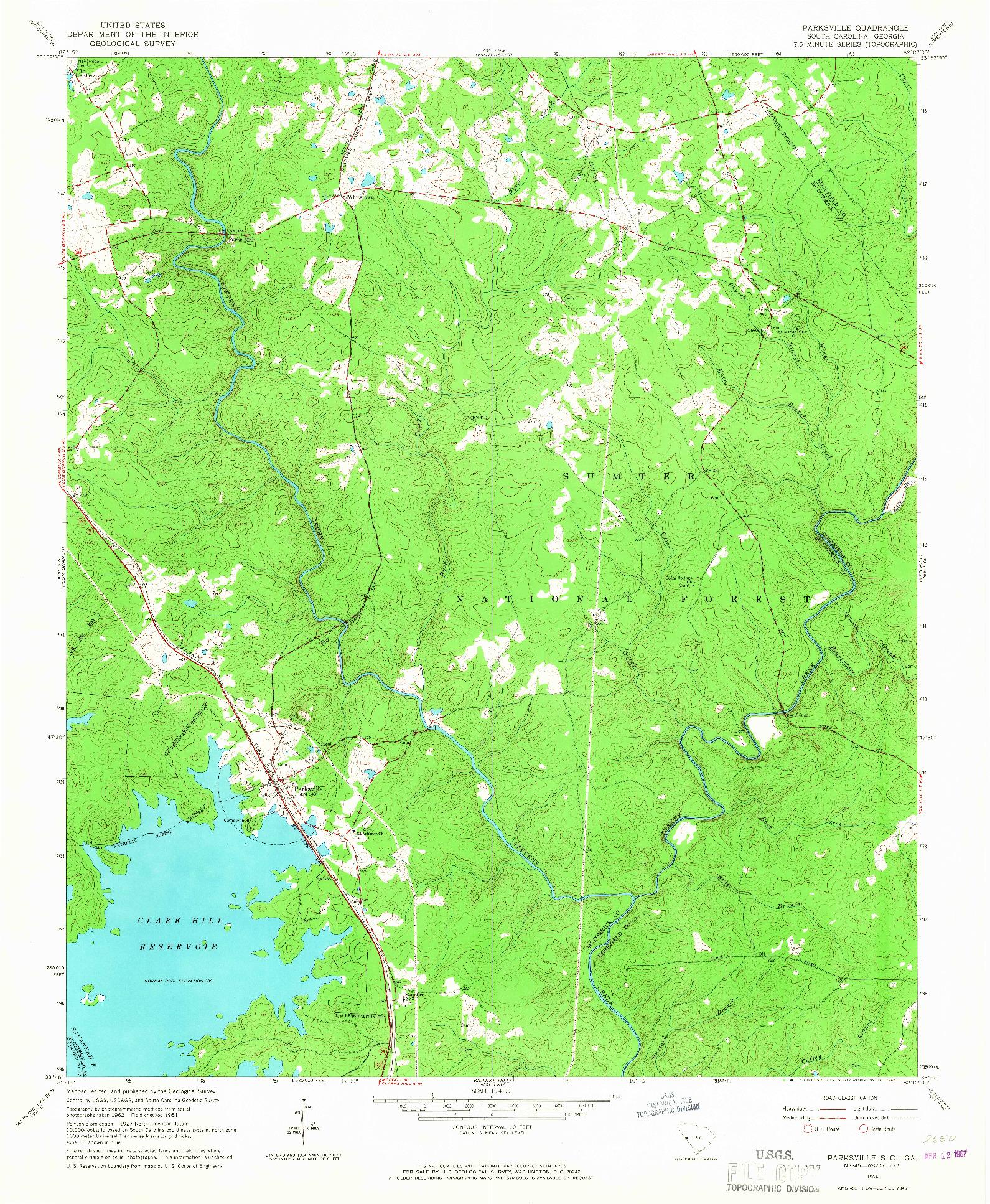 USGS 1:24000-SCALE QUADRANGLE FOR PARKSVILLE, SC 1964