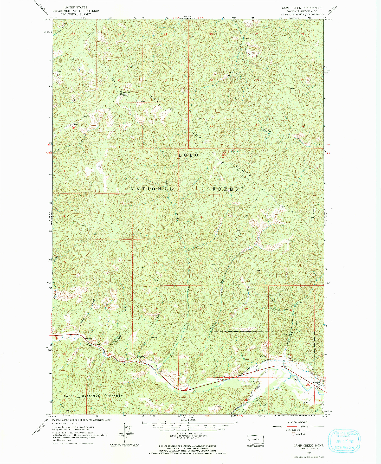 USGS 1:24000-SCALE QUADRANGLE FOR CAMP CREEK, MT 1964