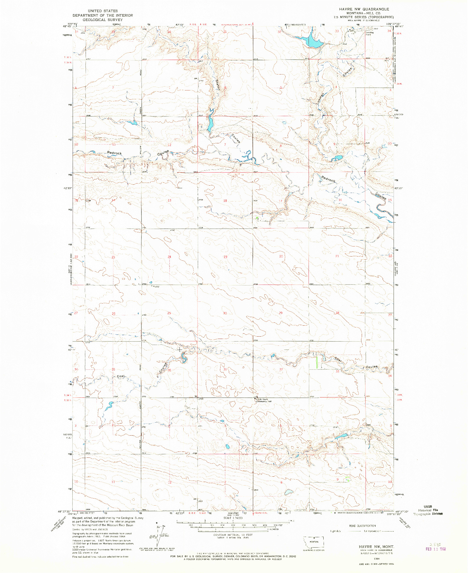 USGS 1:24000-SCALE QUADRANGLE FOR HAVRE NW, MT 1964