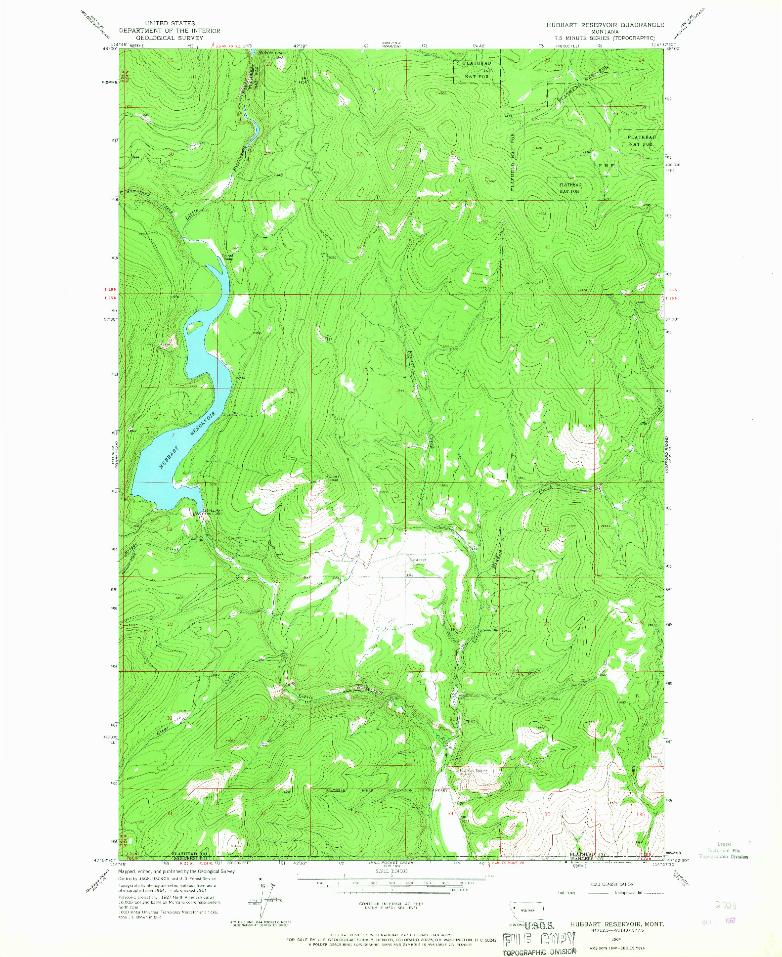 USGS 1:24000-SCALE QUADRANGLE FOR HUBBART RESERVOIR, MT 1964