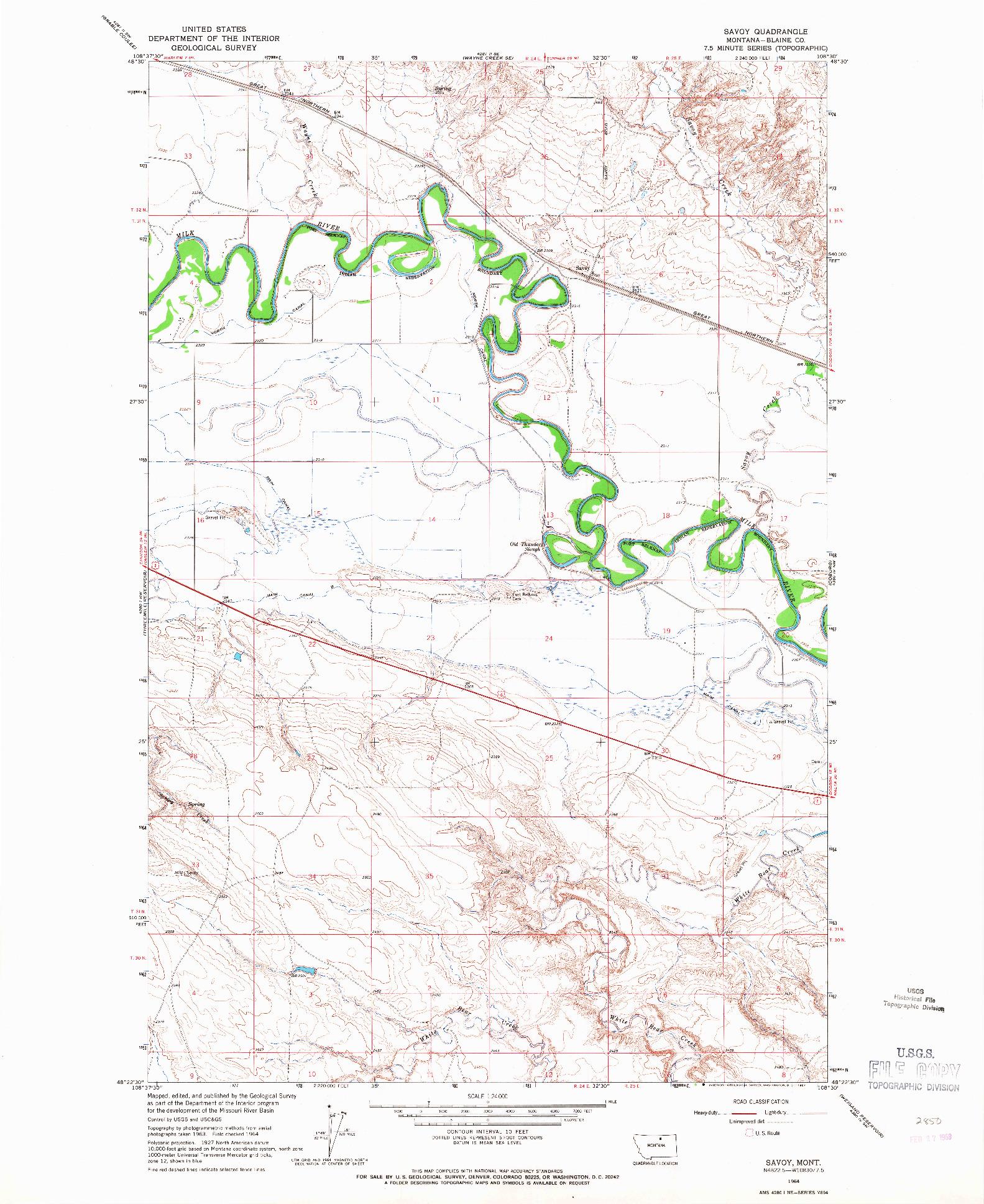 USGS 1:24000-SCALE QUADRANGLE FOR SAVOY, MT 1964