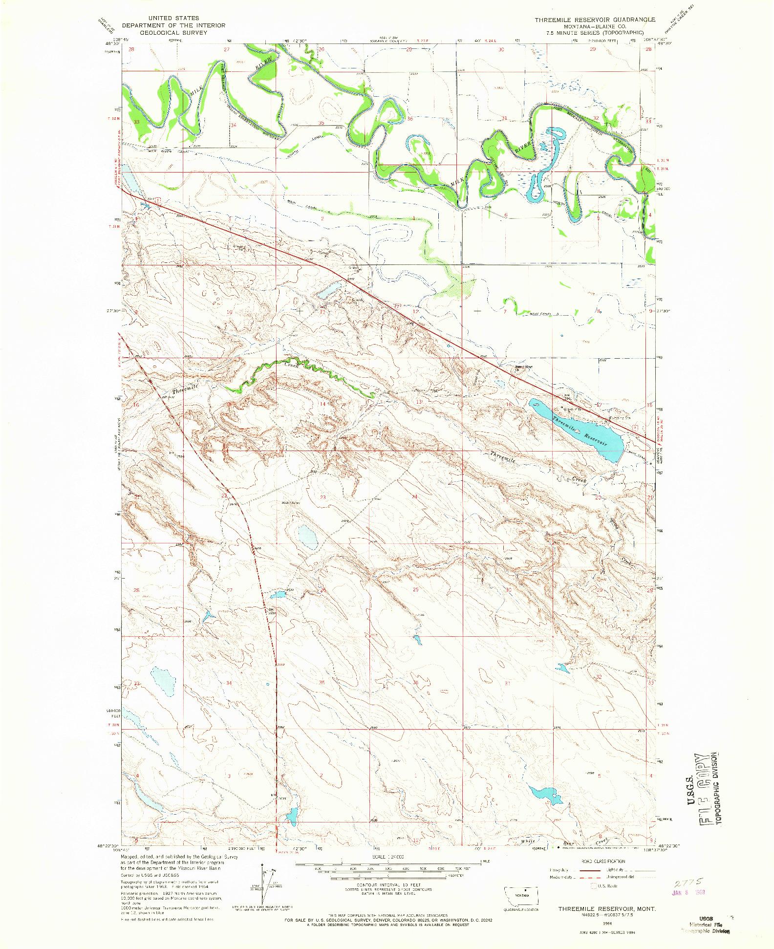 USGS 1:24000-SCALE QUADRANGLE FOR THREEMILE RESERVOIR, MT 1964