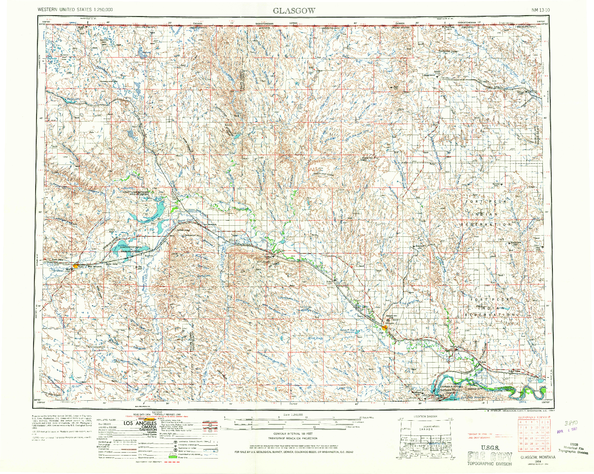 USGS 1:250000-SCALE QUADRANGLE FOR GLASGOW, MT 1954
