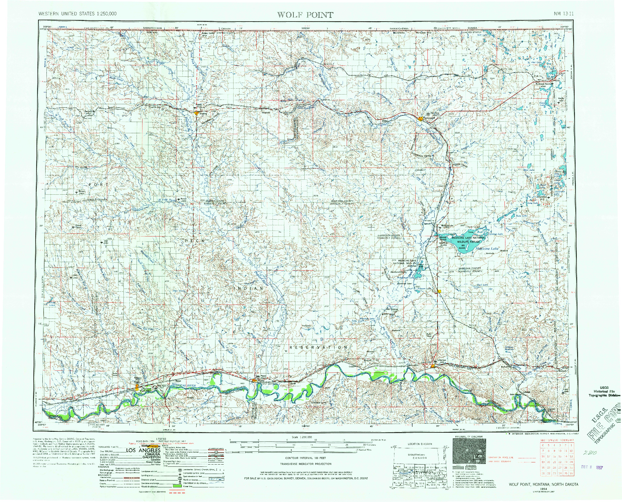 USGS 1:250000-SCALE QUADRANGLE FOR WOLF POINT, MT 1954